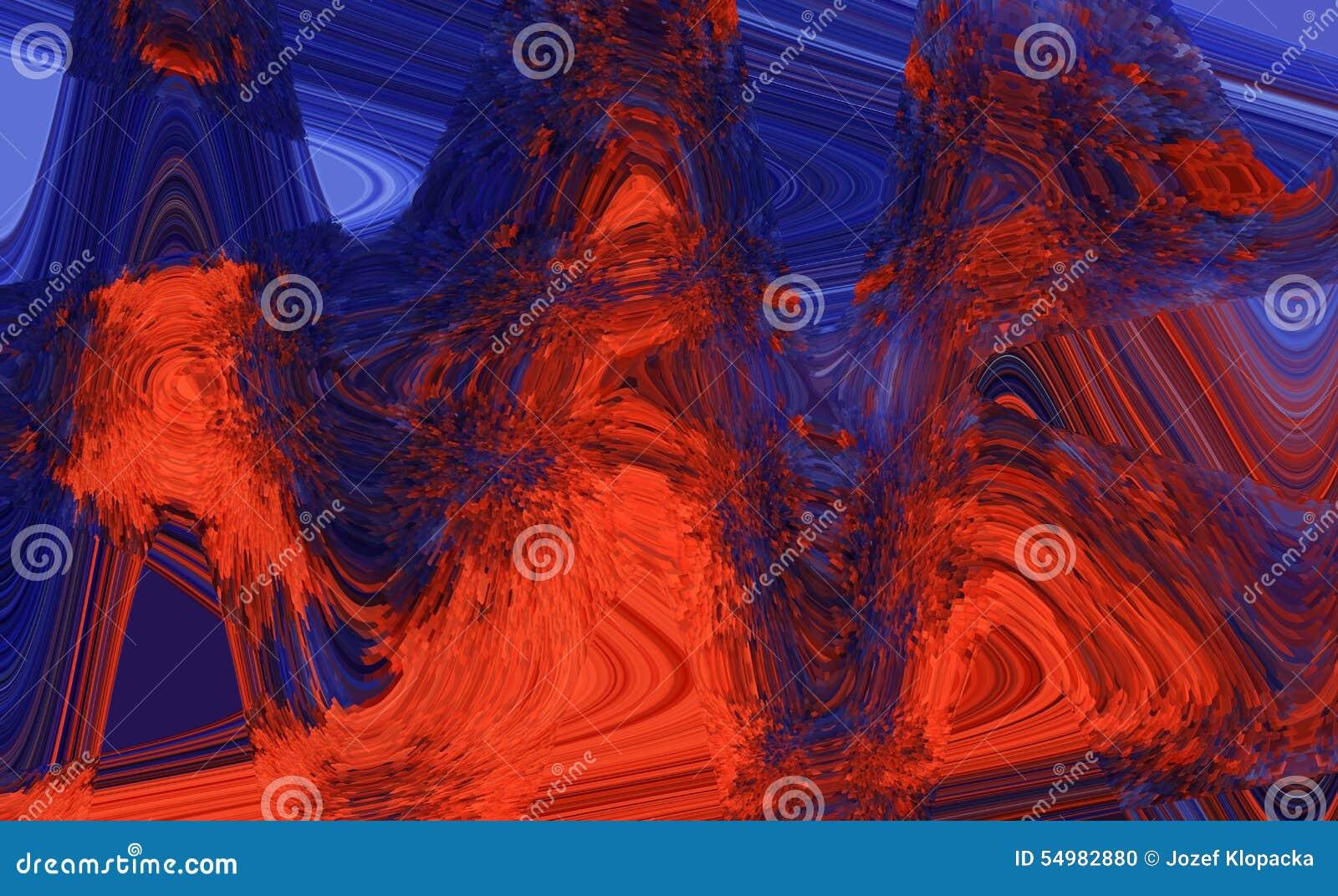 Rouge abstrait et bleu de fond