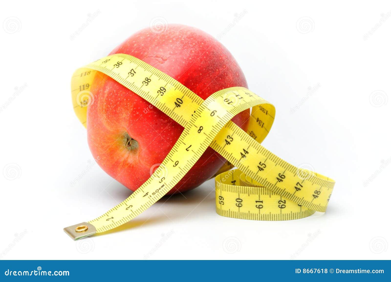 Rouge de centimètre de pomme