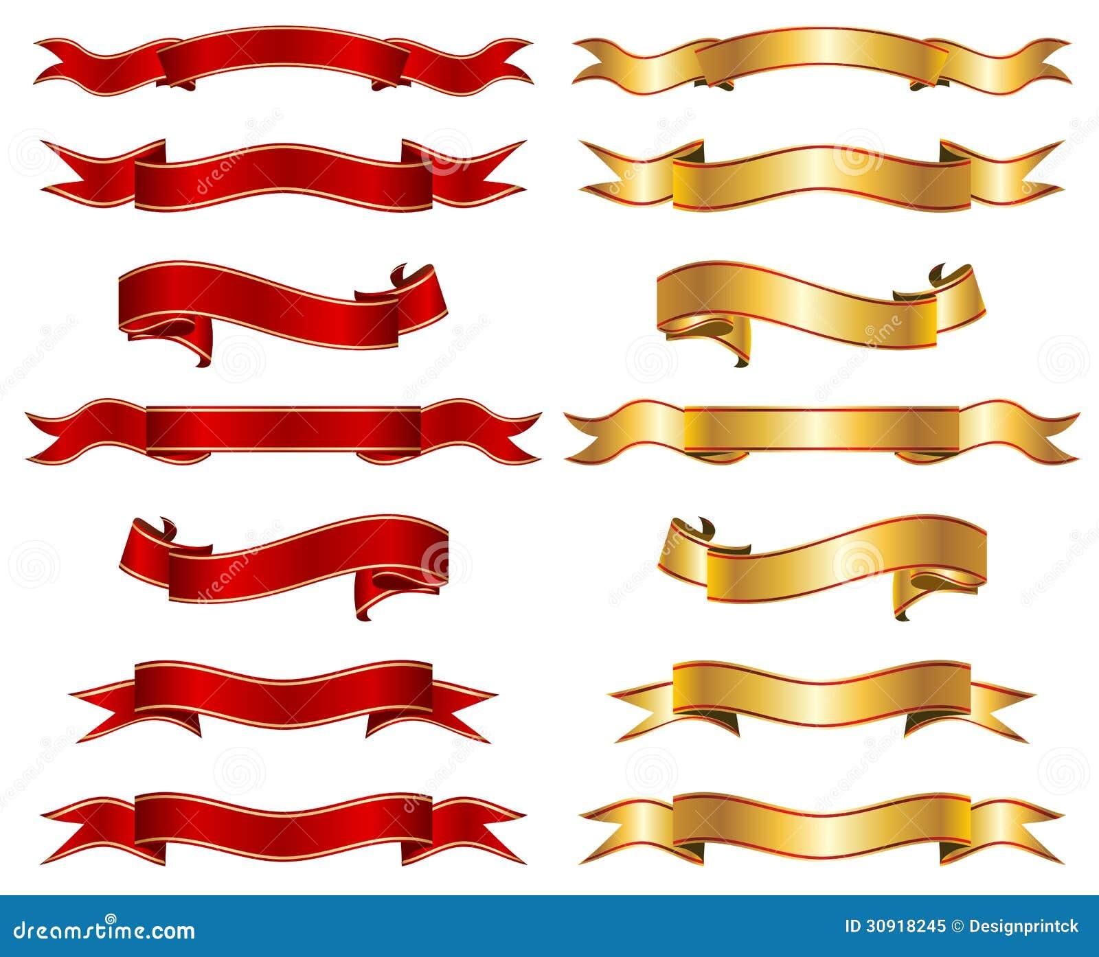 Rouge et ensemble de collection de fantaisie de bannière de ruban d or