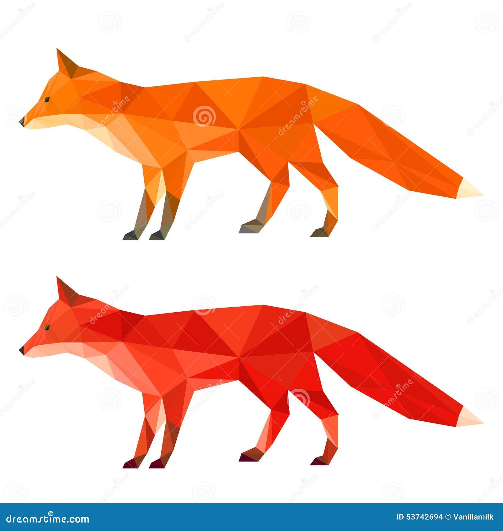 rouge lumineux abstrait et ensemble g om trique polygonal de renard de triangle de gingembre d. Black Bedroom Furniture Sets. Home Design Ideas