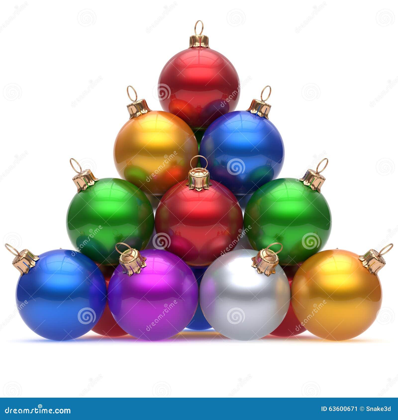 Rouge multicolore de boule de Noël de pyramide le réveillon de la Saint Sylvestre supérieur