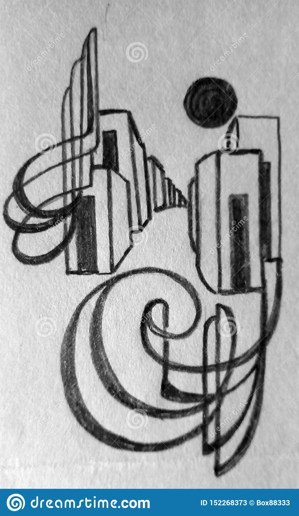 Rough Abstract Pencil Drawing On Paper Dark Lines And Spots