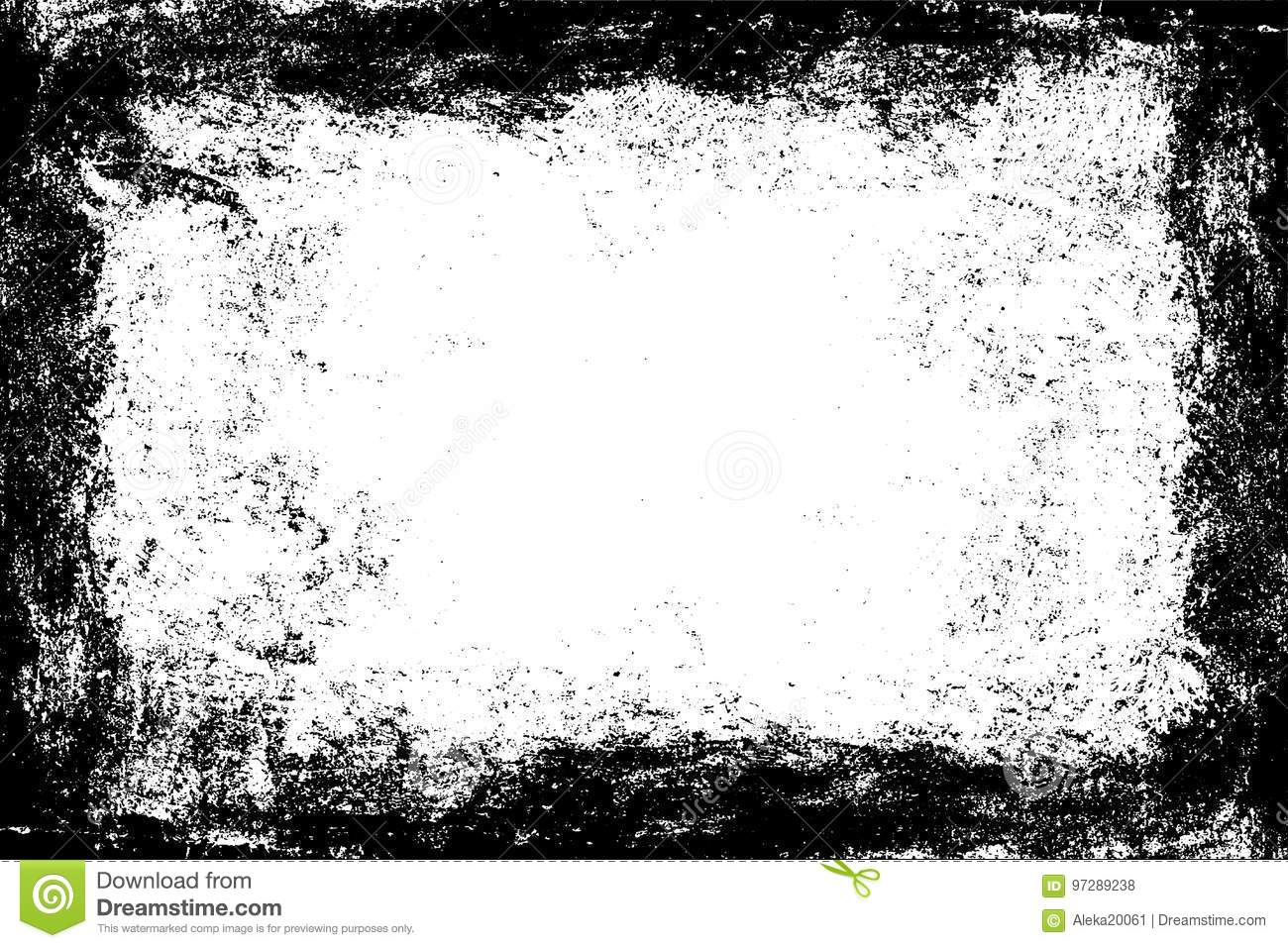 e3da2923d2b Rough black frame template. Old worn grunge wall. Dirty texture. Black white  background.