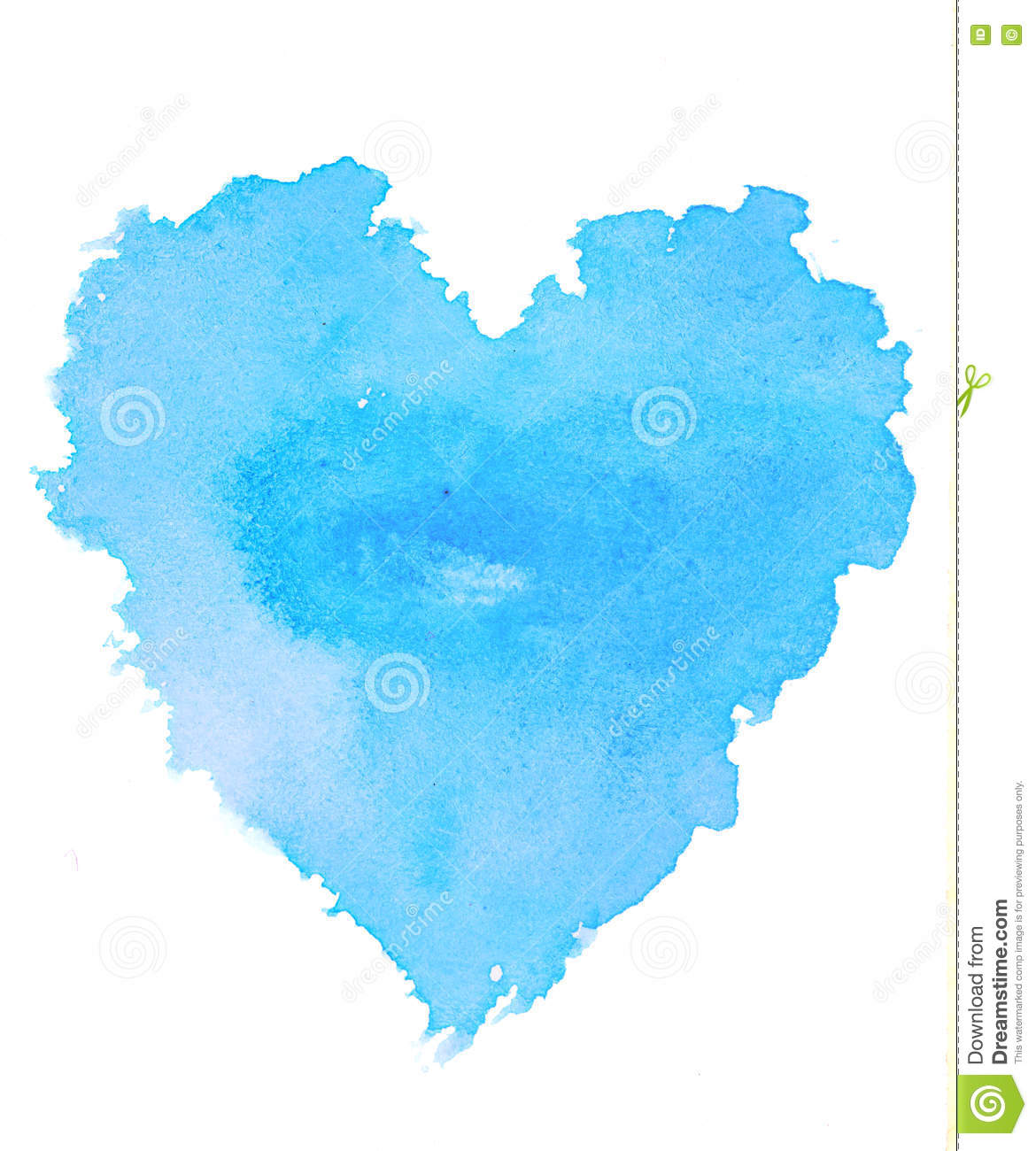 Rough blue heart shape water color illustration on white background