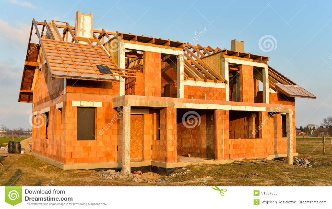 Brick building material on the house construction site for House building website