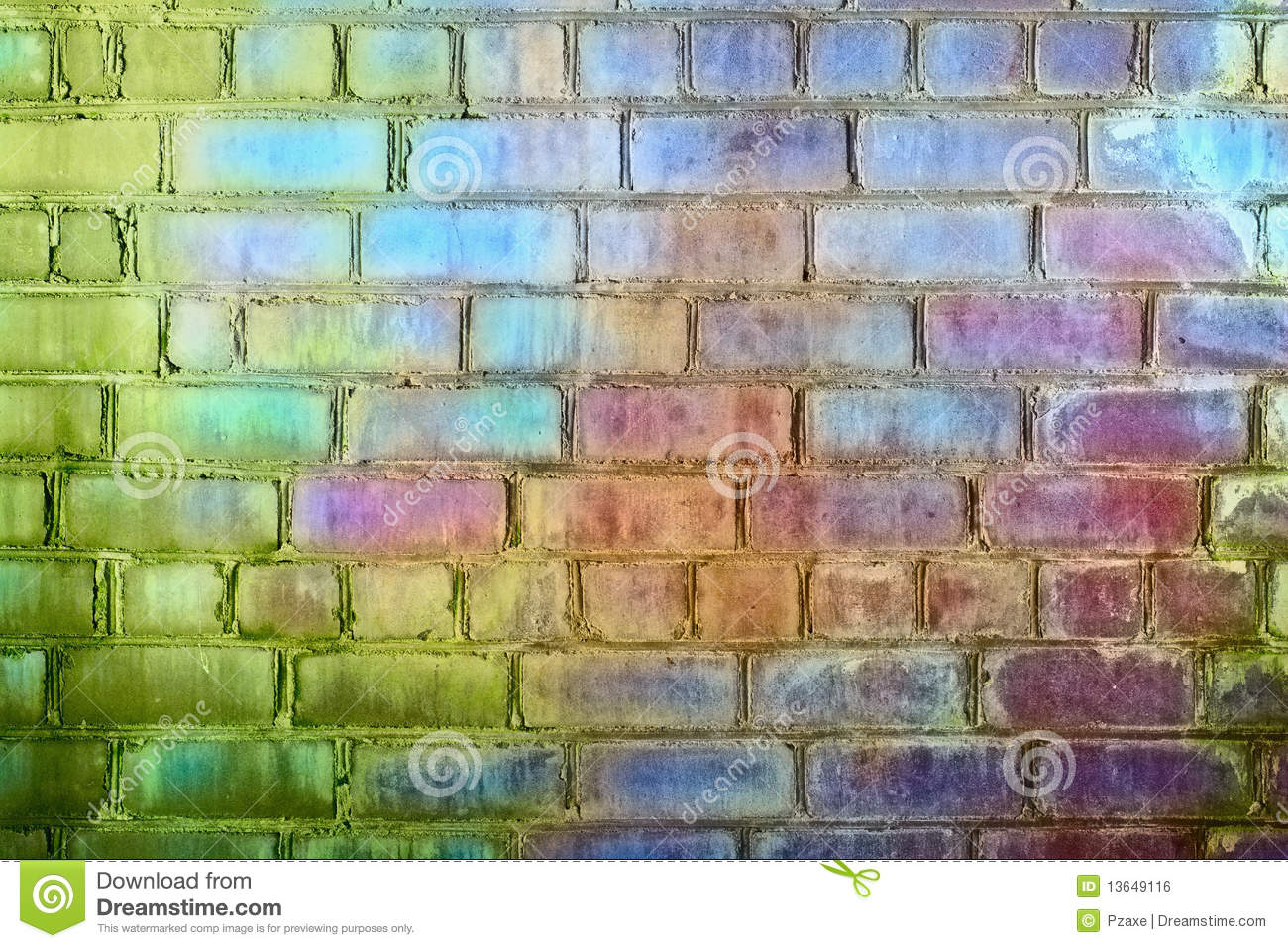 Rough Brick Wall Iridescent Colors Rainbow Stock