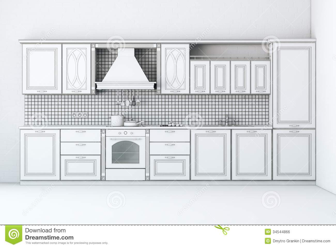 Rough draft of classic kitchen cabinet royalty free stock for Kitchen design vector