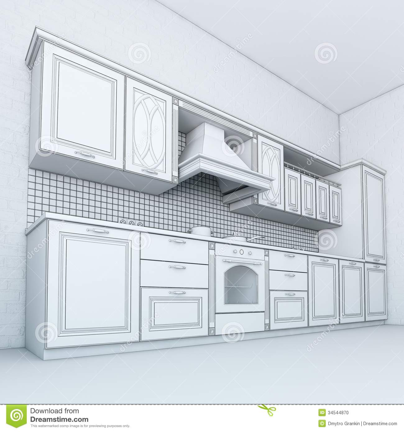 Rough Draft Of Classic Kitchen Cabinet Stock Photo - Image: 34544870