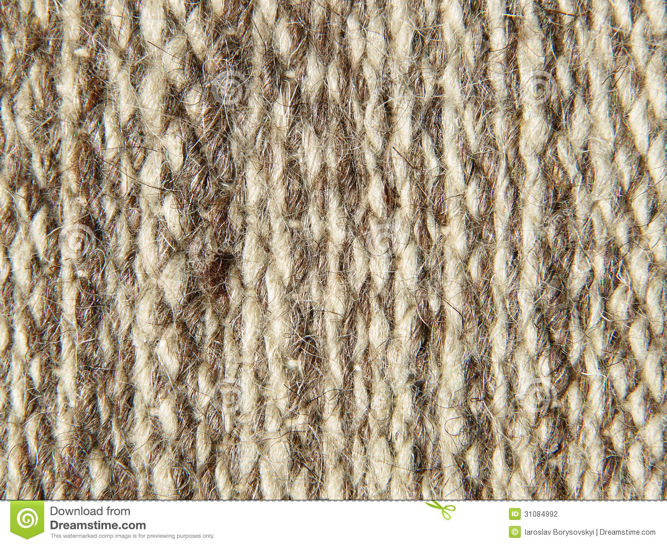 Rough Knit Camel Wool Fabric Texture Pattern Stock Photo