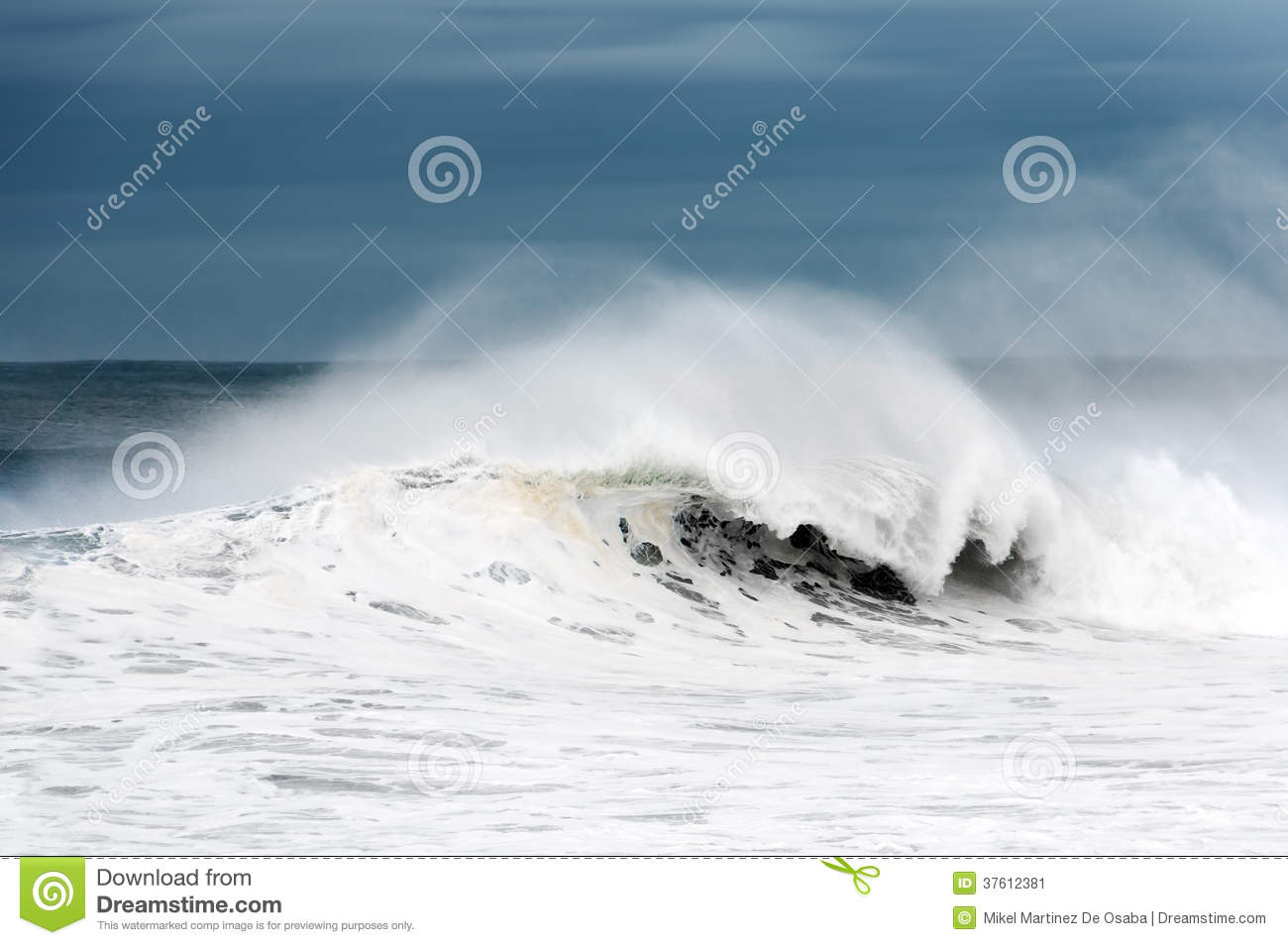 Rough sea with big wave breaking