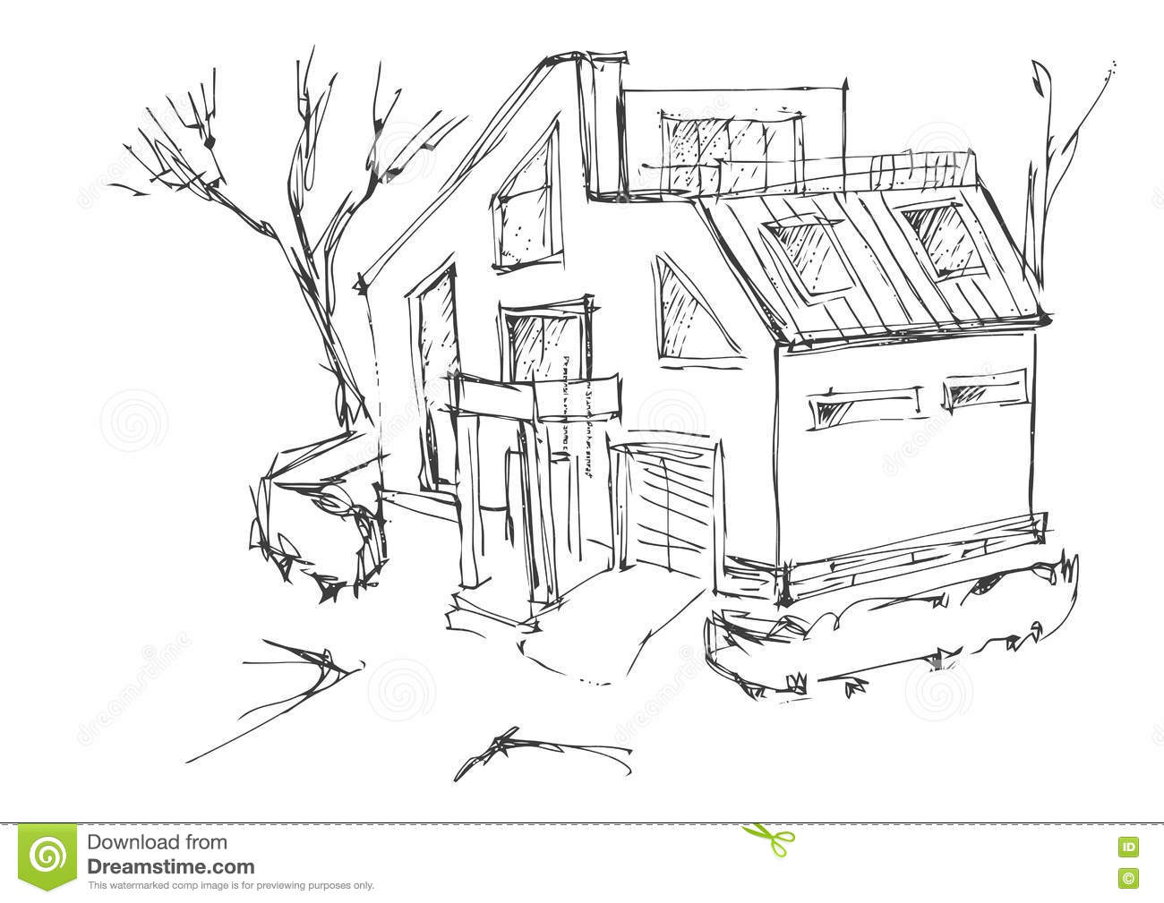 Line Drawing Cottage Stock Illustrations 702 Line Drawing