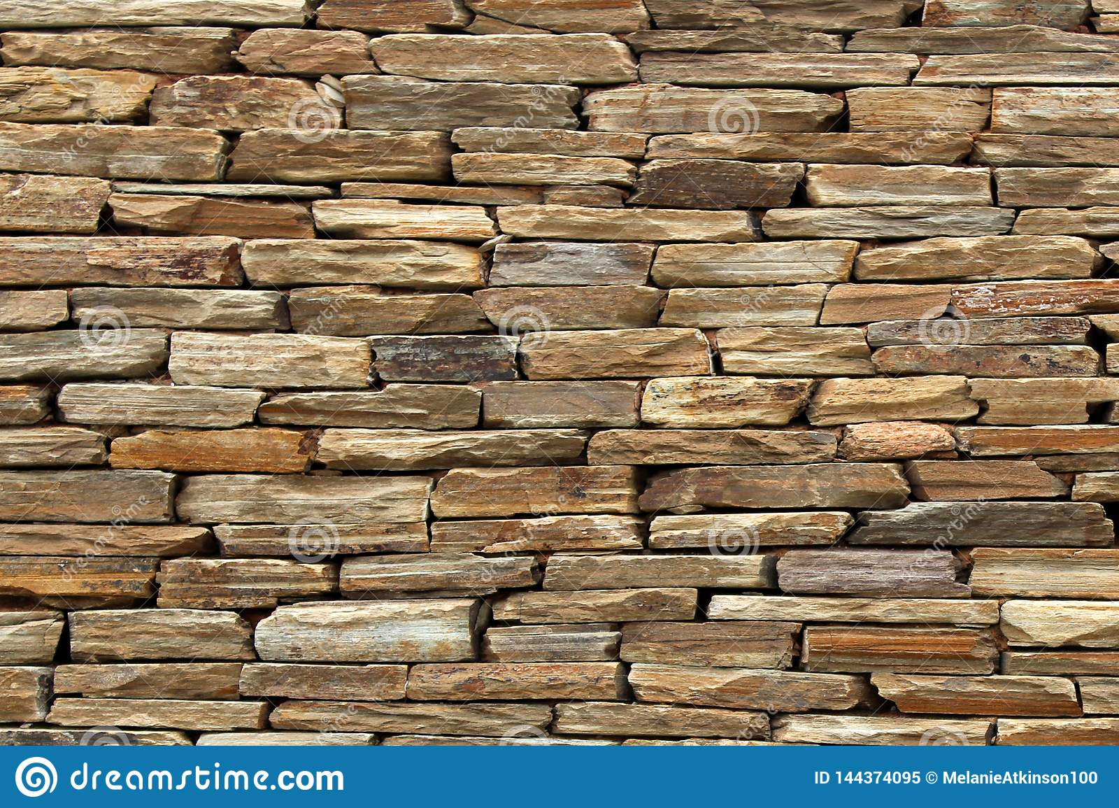 Rough textured wall created using flat rocks