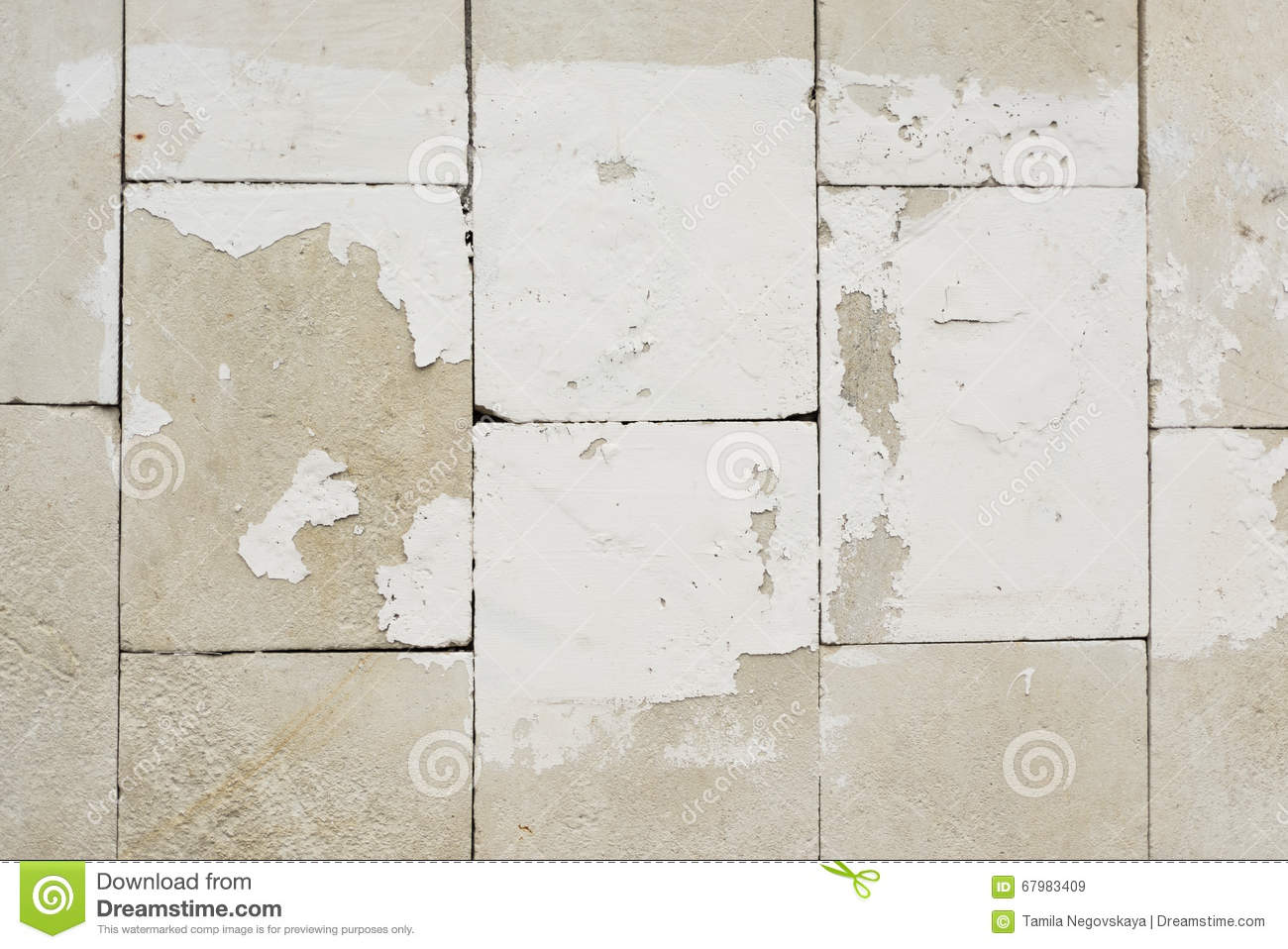 Rough Wall Tiles With Old White Paint Background Texture