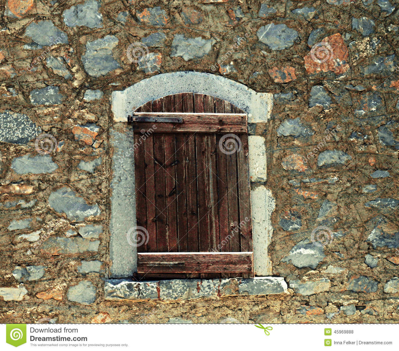 House windows with shutters - Rough Wooden Shutters In Old Stone Wall Stock Photo Image 45969888