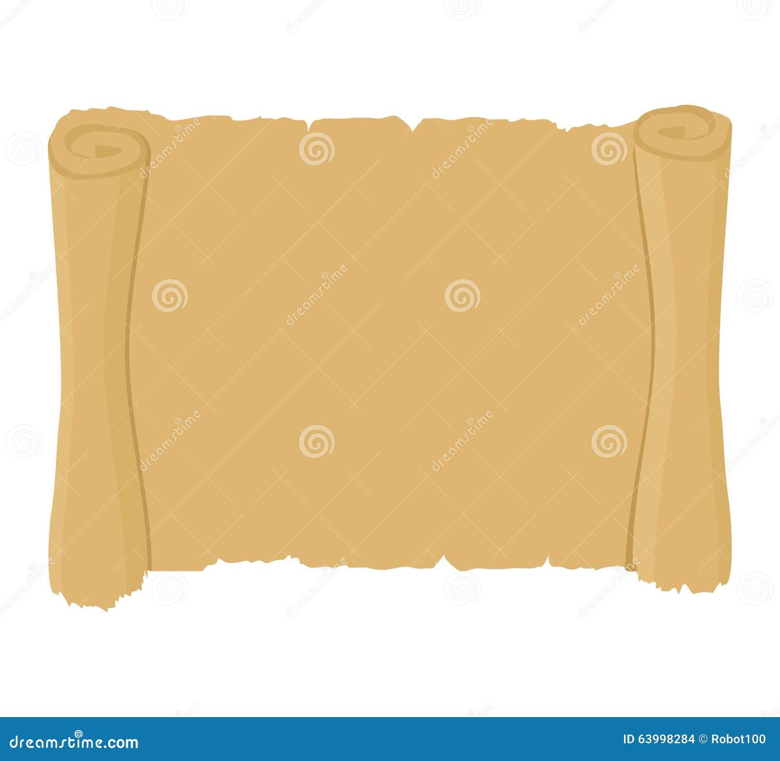 Rouleau antique propre vieux parchemin blanc Rétro document sur papier