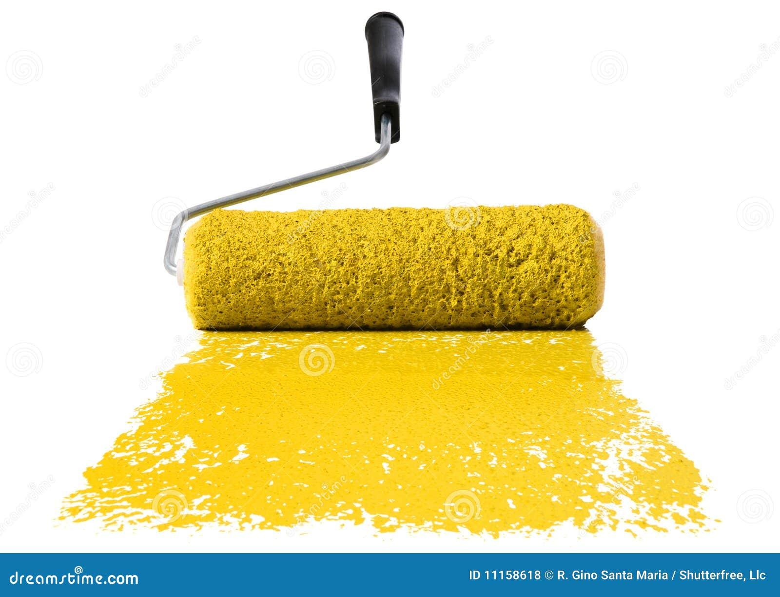 Rouleau avec la peinture jaune