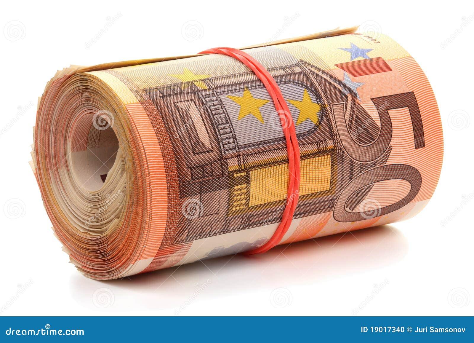 rouleau de cinquante euro billets de banque photo stock image 19017340. Black Bedroom Furniture Sets. Home Design Ideas