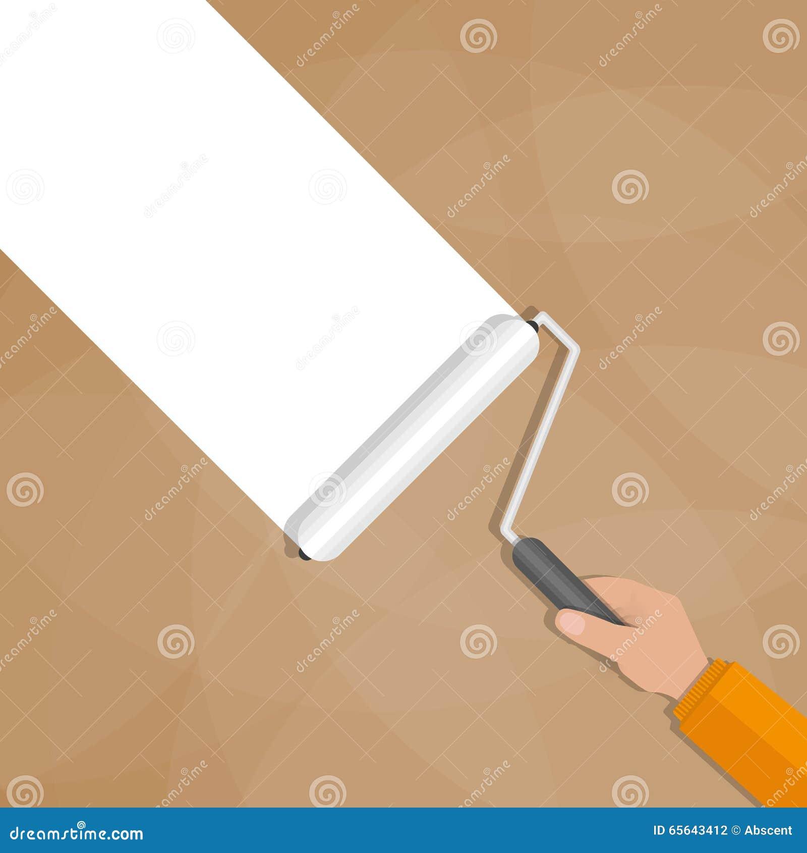 Rouleau de peinture avec la main