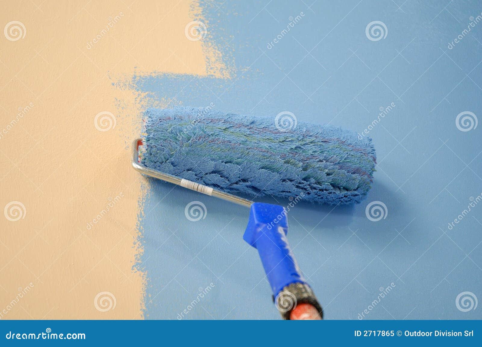 Rouleau de peinture bleu de mur photo libre de droits image 2717865 - Droit locataire peinture murs ...