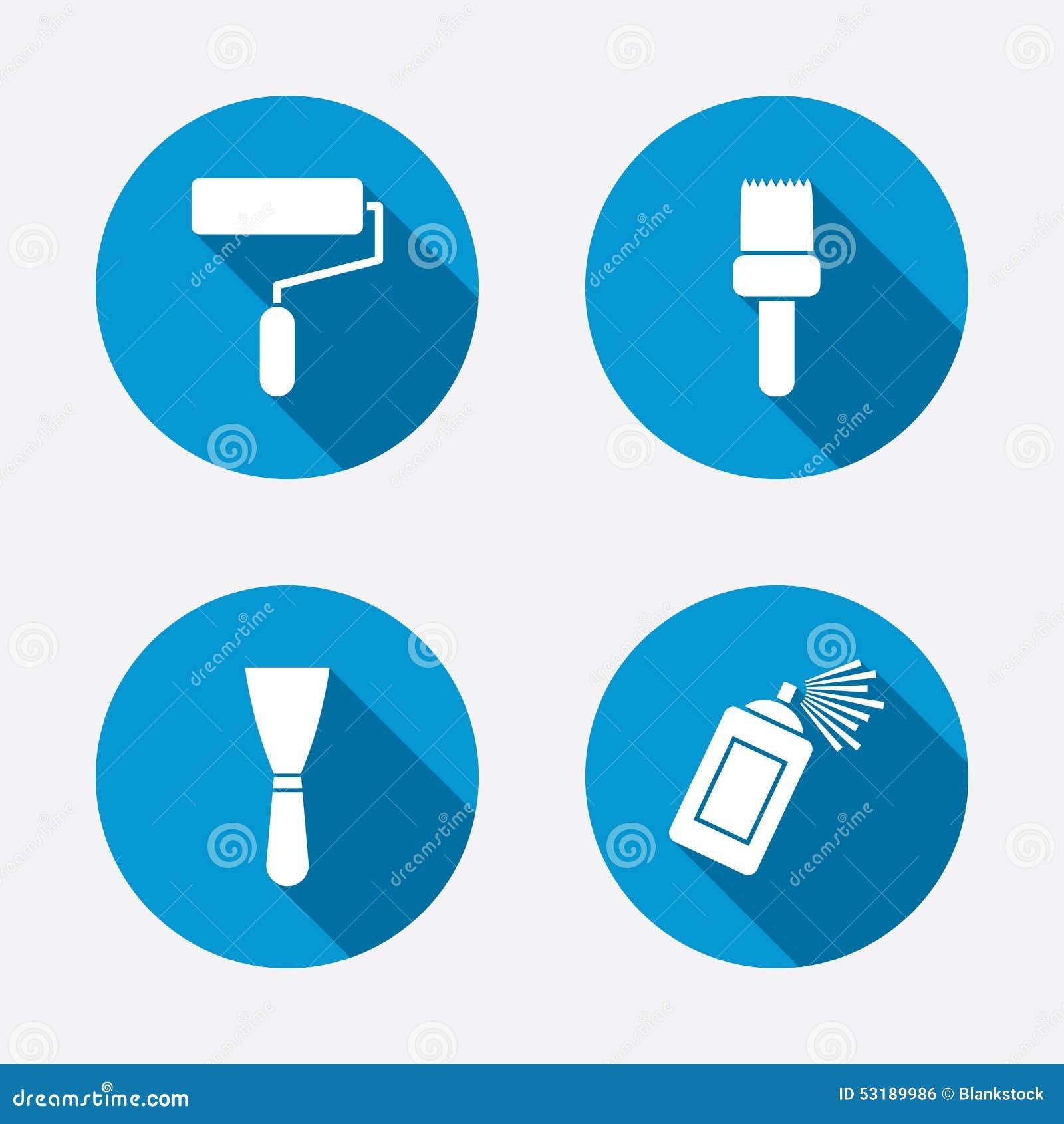 Rouleau de peinture, icône de brosse Boîte et spatule de jet