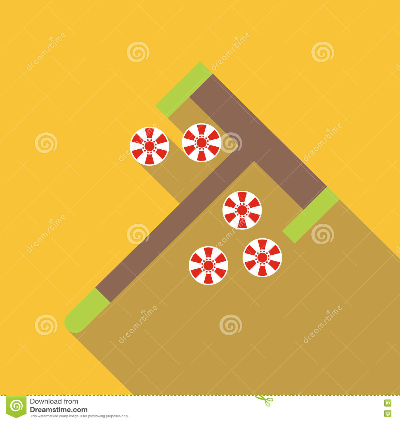 Roulette el rastrillo y salta el icono, estilo plano