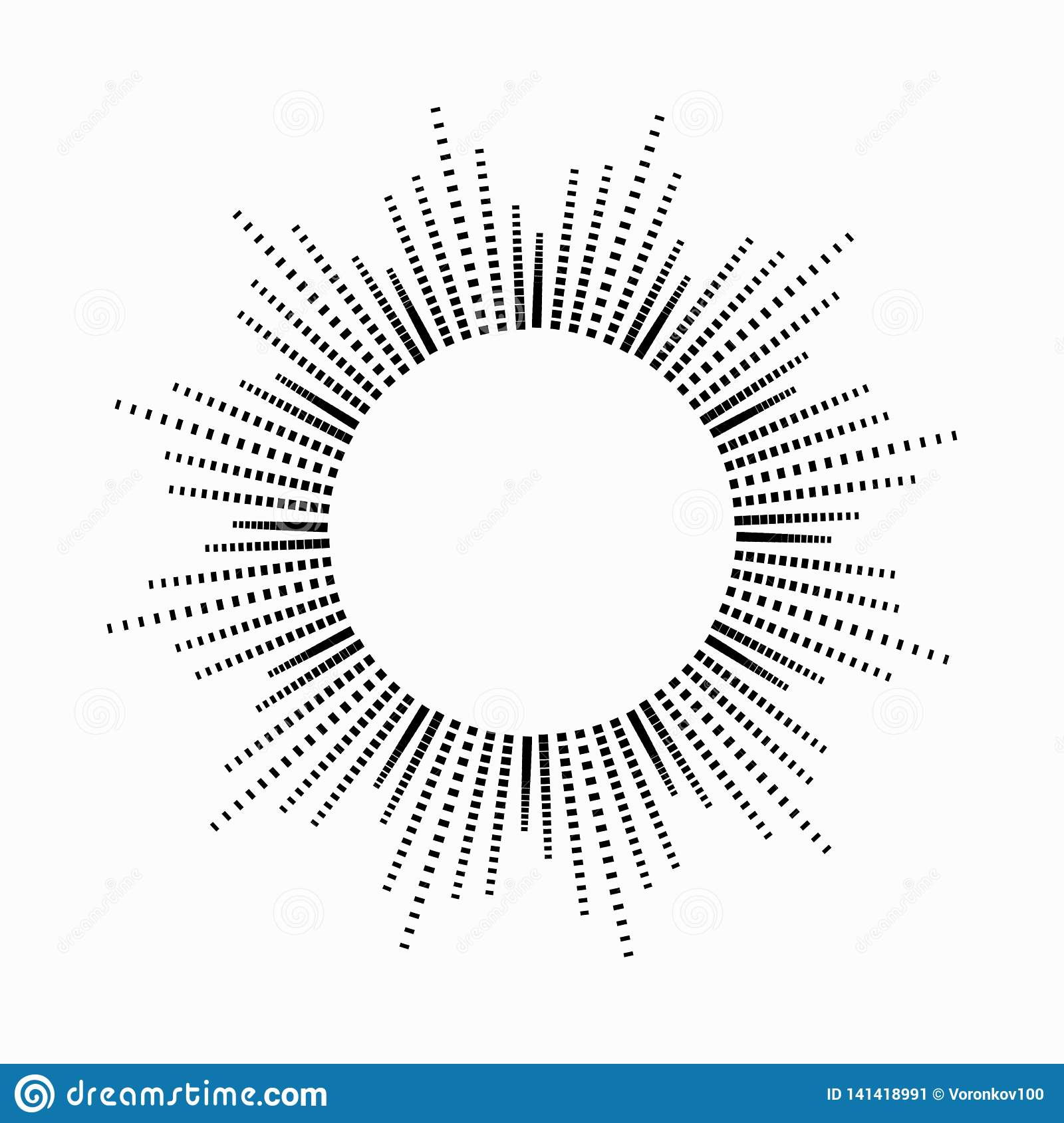 Round abstract equalizer music in the shape of the sun with rays. Symbol, monochrome, icon. Vector design element