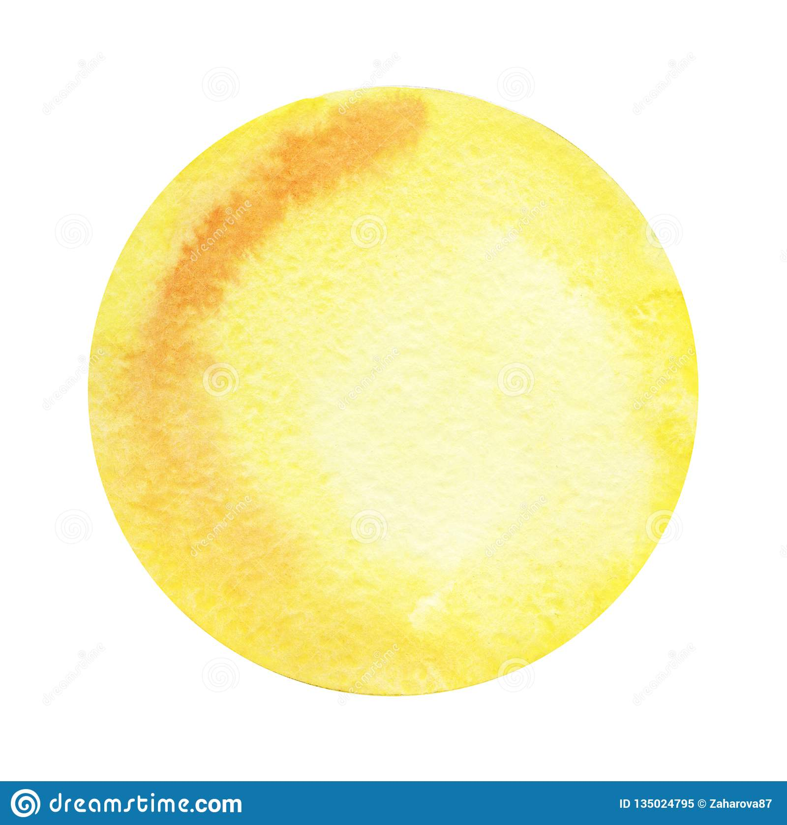 Round abstract watercolor background of yellow color with a radial gradient. Hand-drawn paper illustration