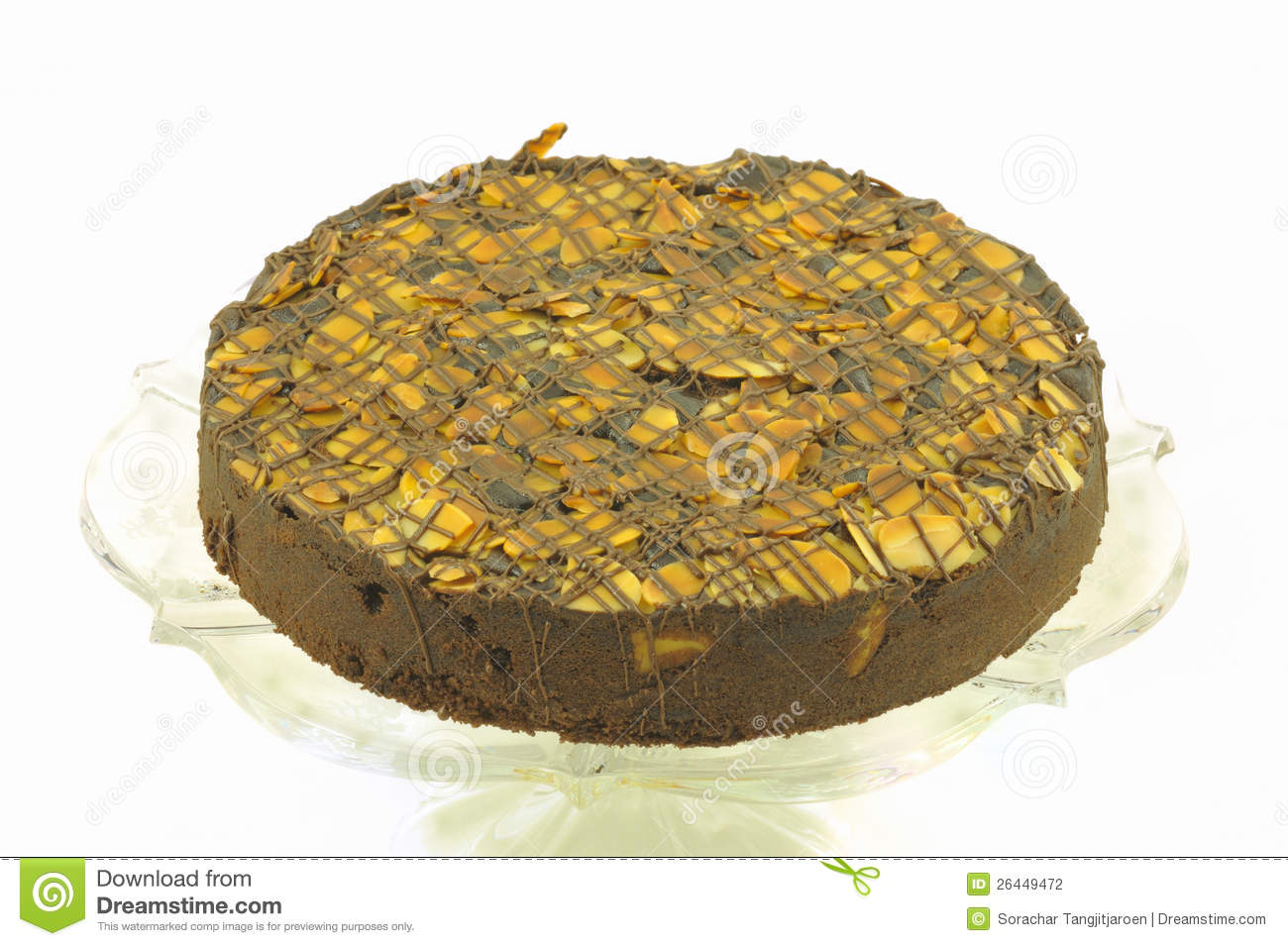 Round Almond Chocolate Cake Isolated. Stock Photography - Image ...