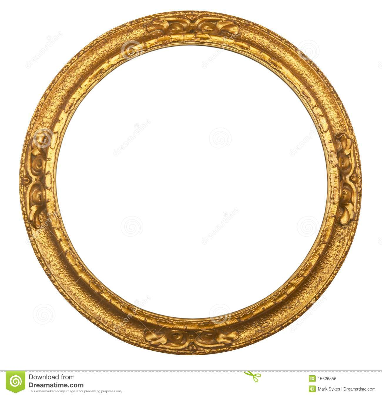 Round Antique Gilt Picture Frame Stock Photo Image Of