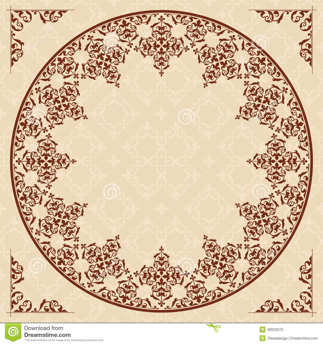 Stock Photography Round Arabic Ornament Light Beige Pattern Vector Eps Image40625072 on Victorian Ornamental Border Brown