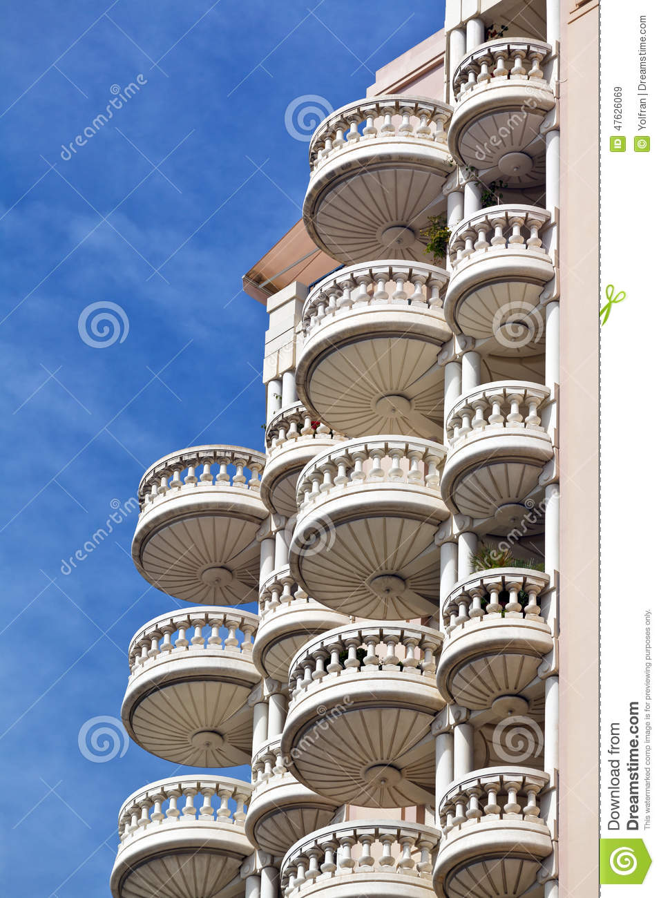 Round Balconies Of Luxury Apartment Block Stock Photo