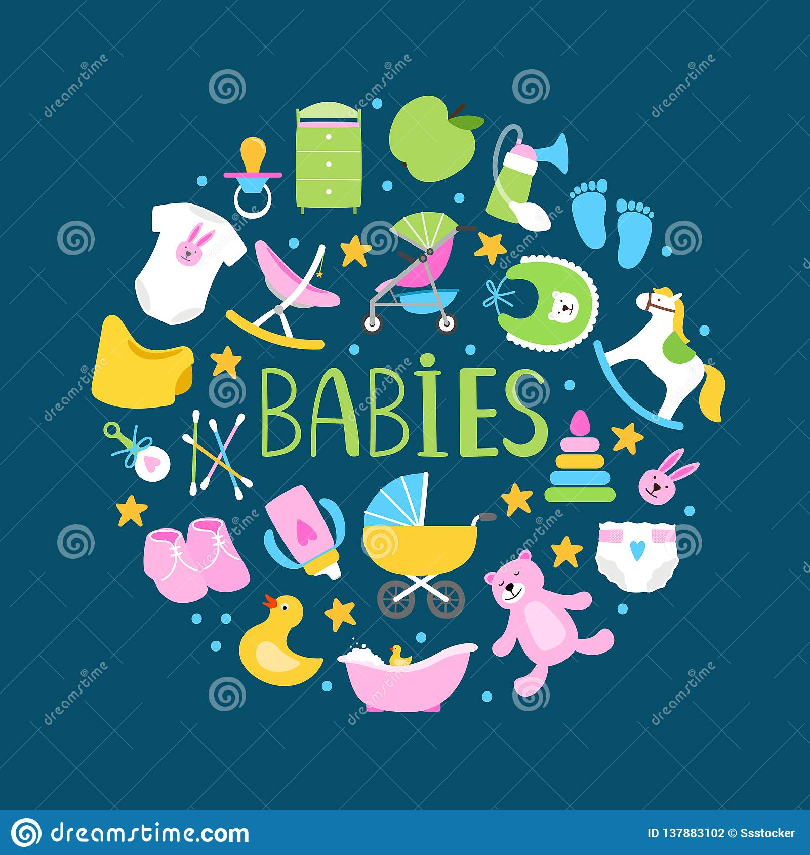 Round banner or background with cute babies accessorises