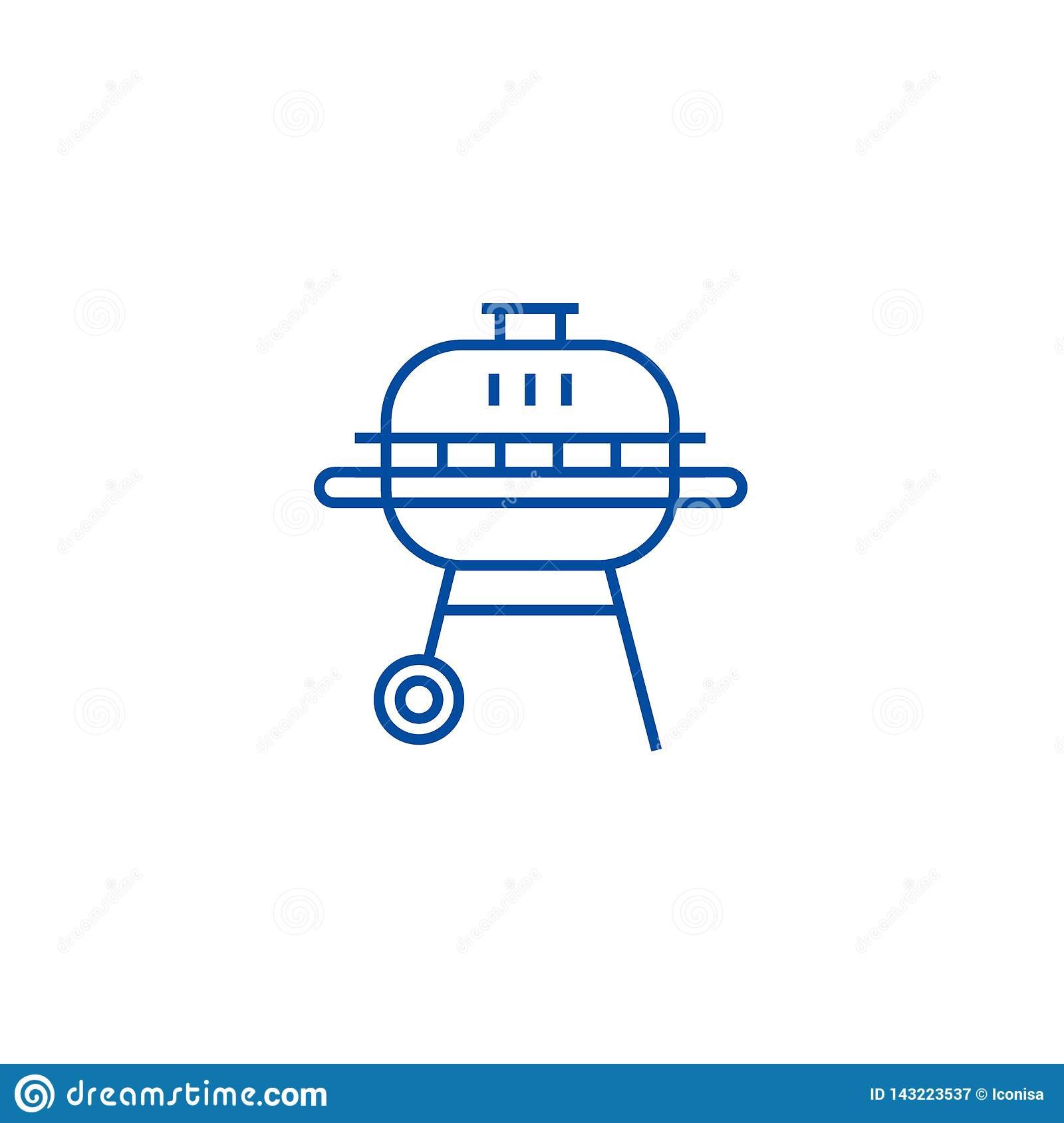 Round barbeque line icon concept. Round barbeque flat  vector symbol, sign, outline illustration.