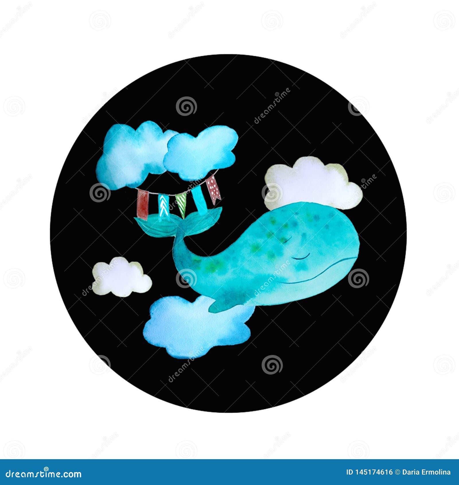 Round barwione ikony wielorybie