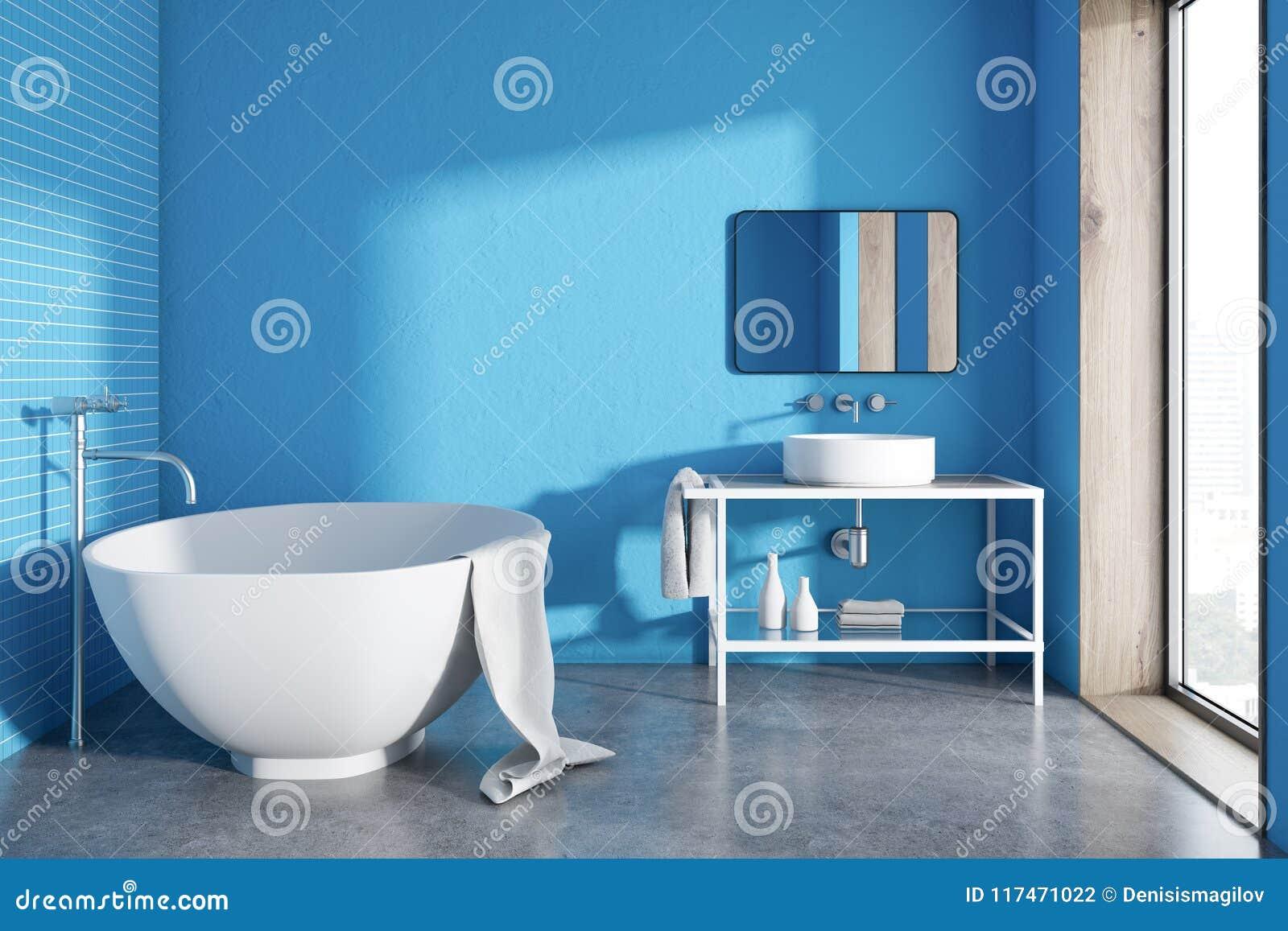 Round Bathtub Blue Bathroom Interior Stock Illustration ...