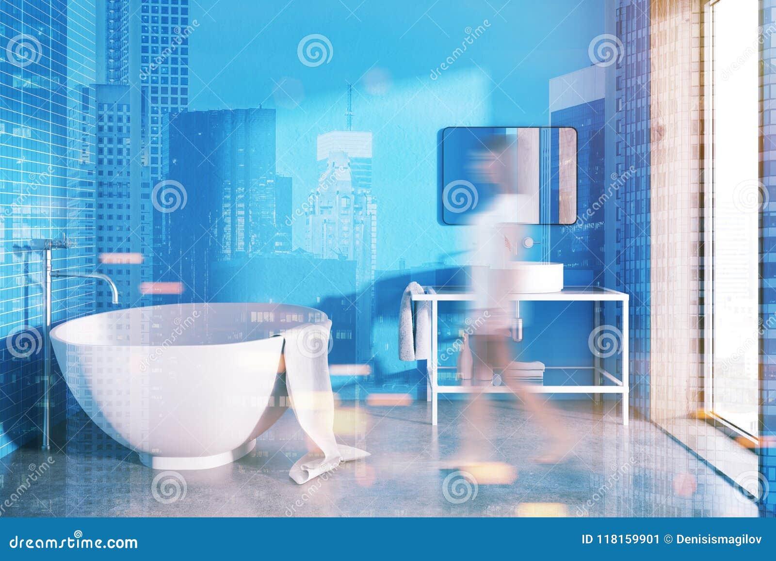 Round Bathtub Blue Bathroom Interior Toned Stock Image - Image of ...