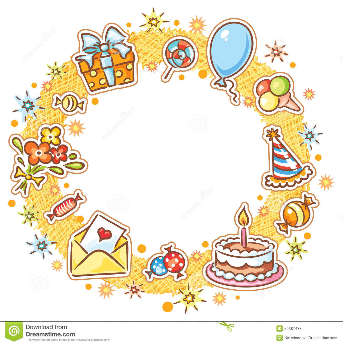 Round Birthday Frame Stock Vector - Image: 50387488