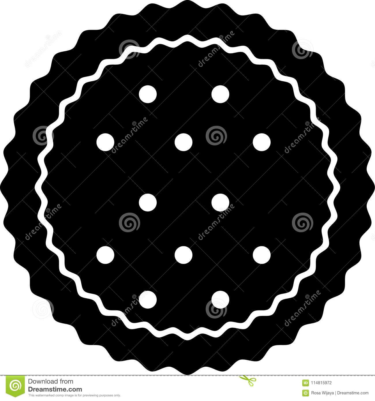 Round Biscuit Icon With Zigzag Lines Stock Photo