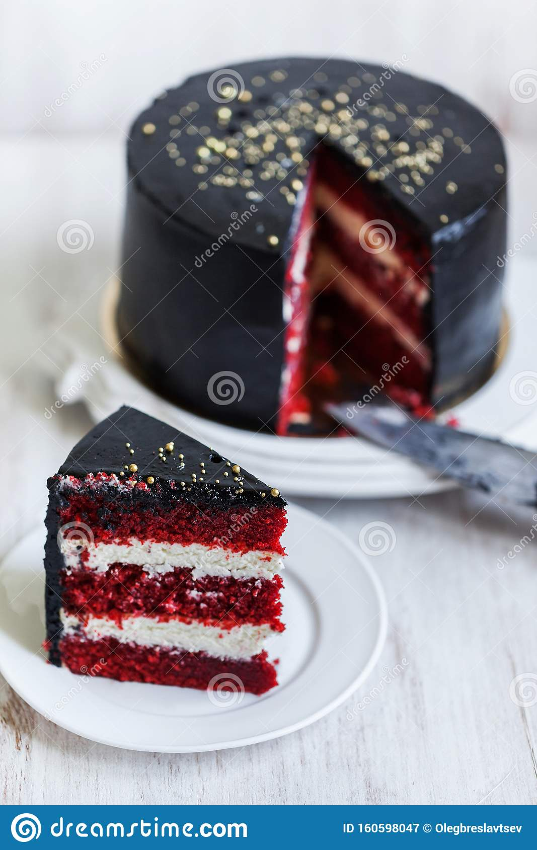 Stupendous Round Black Cake With Striped Red And White Filling Stock Image Funny Birthday Cards Online Amentibdeldamsfinfo