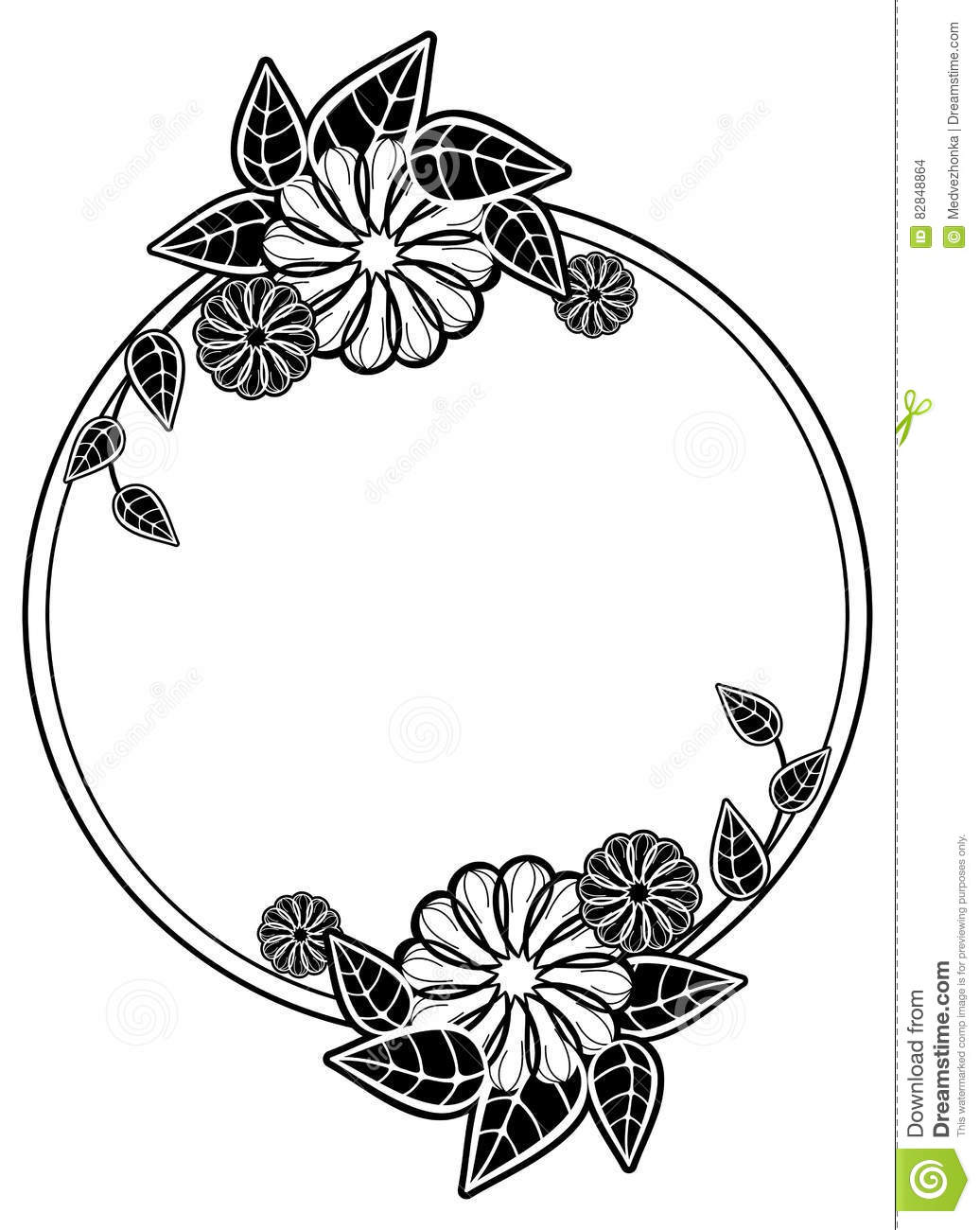 Round Black And White Frame With Abstract Decorative ...