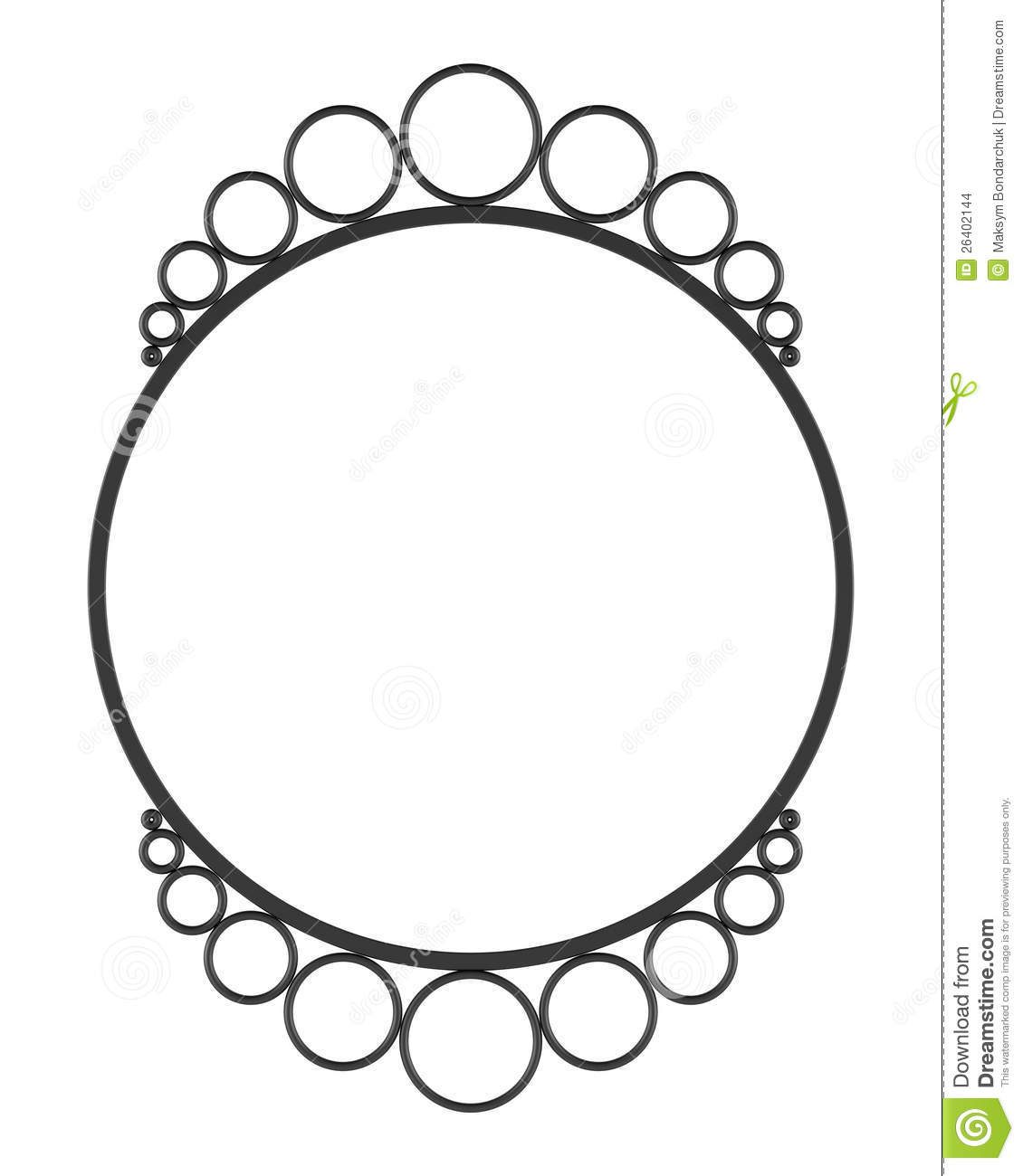Round Blank Wall Mirror Frame Isolated On White Stock