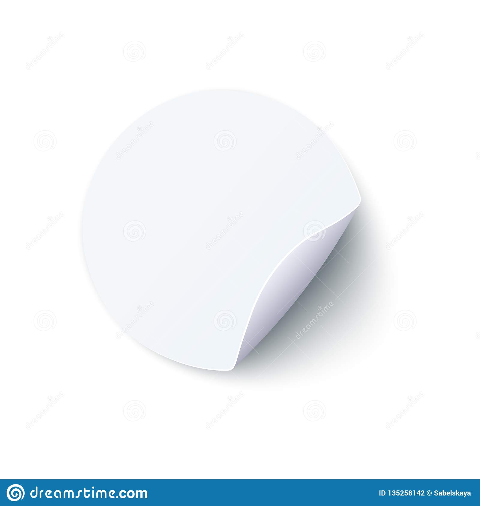 Round Blank White Paper Sticker With Peel Off Corner In