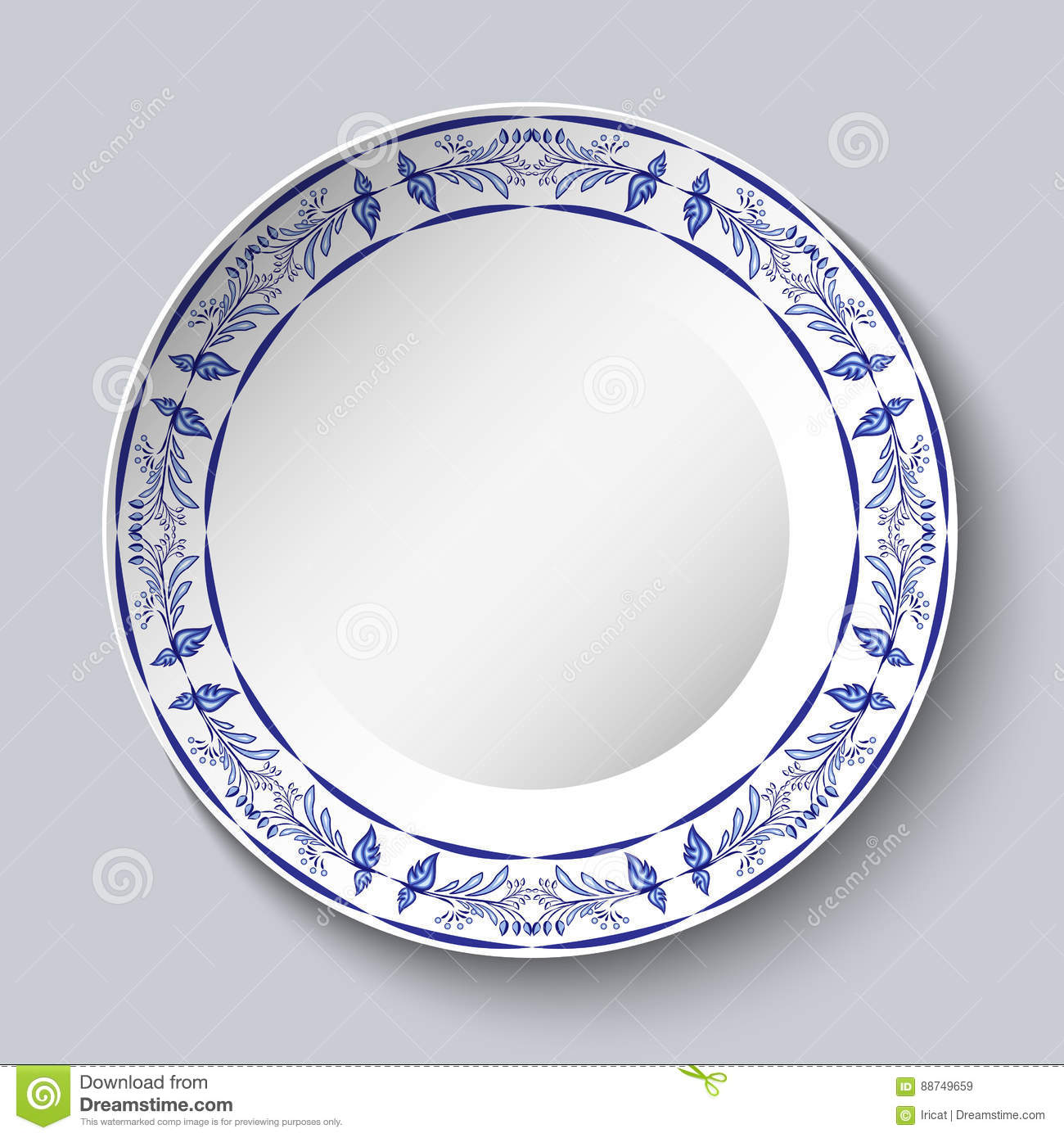 Round blue floral frame. Styling elements based on Chinese or Russian porcelain painting. Ornament shown in a ceramic dish.
