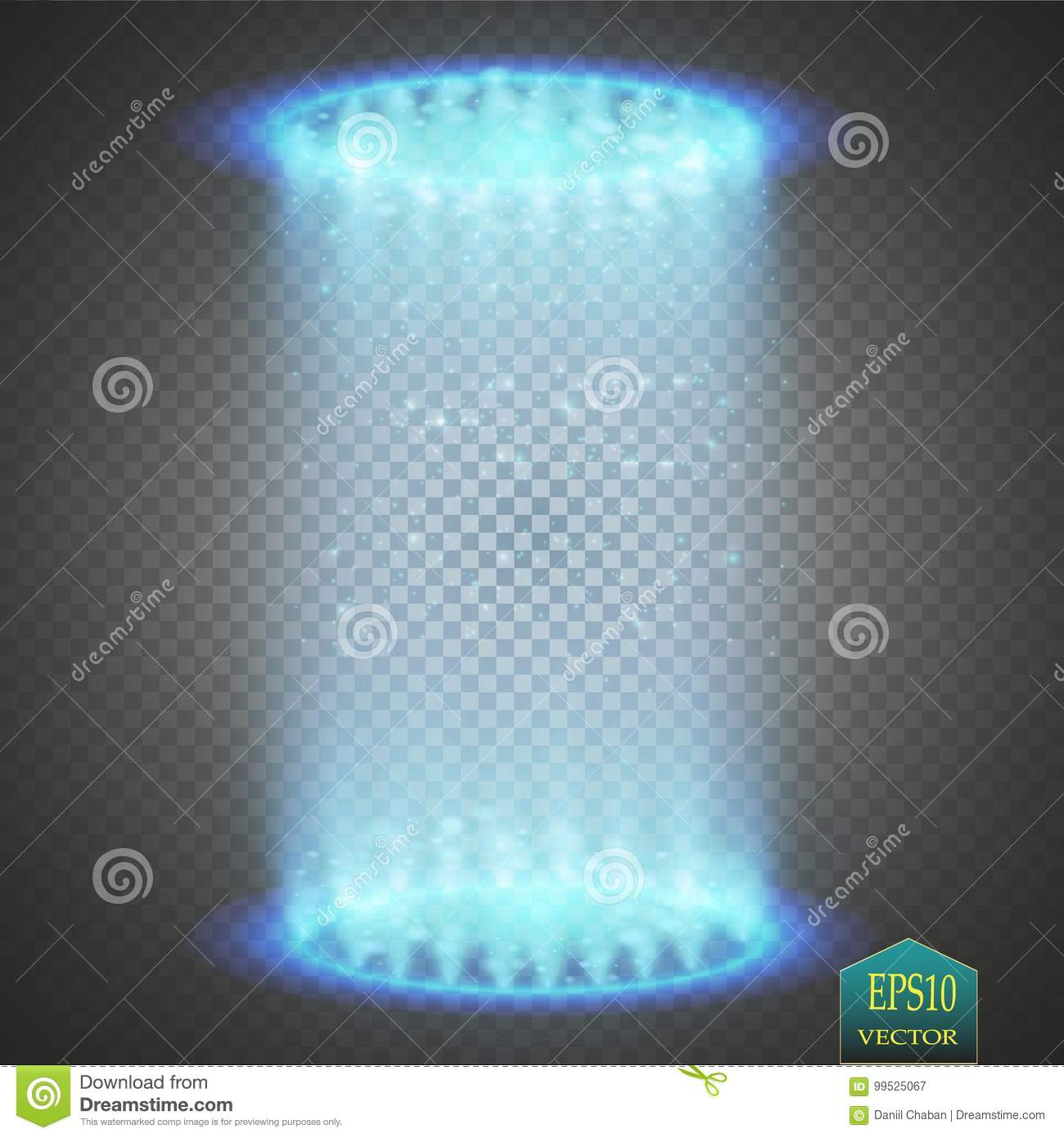 Round blue glow rays night scene with sparks on transparent background. Empty light effect podium. Disco club dance