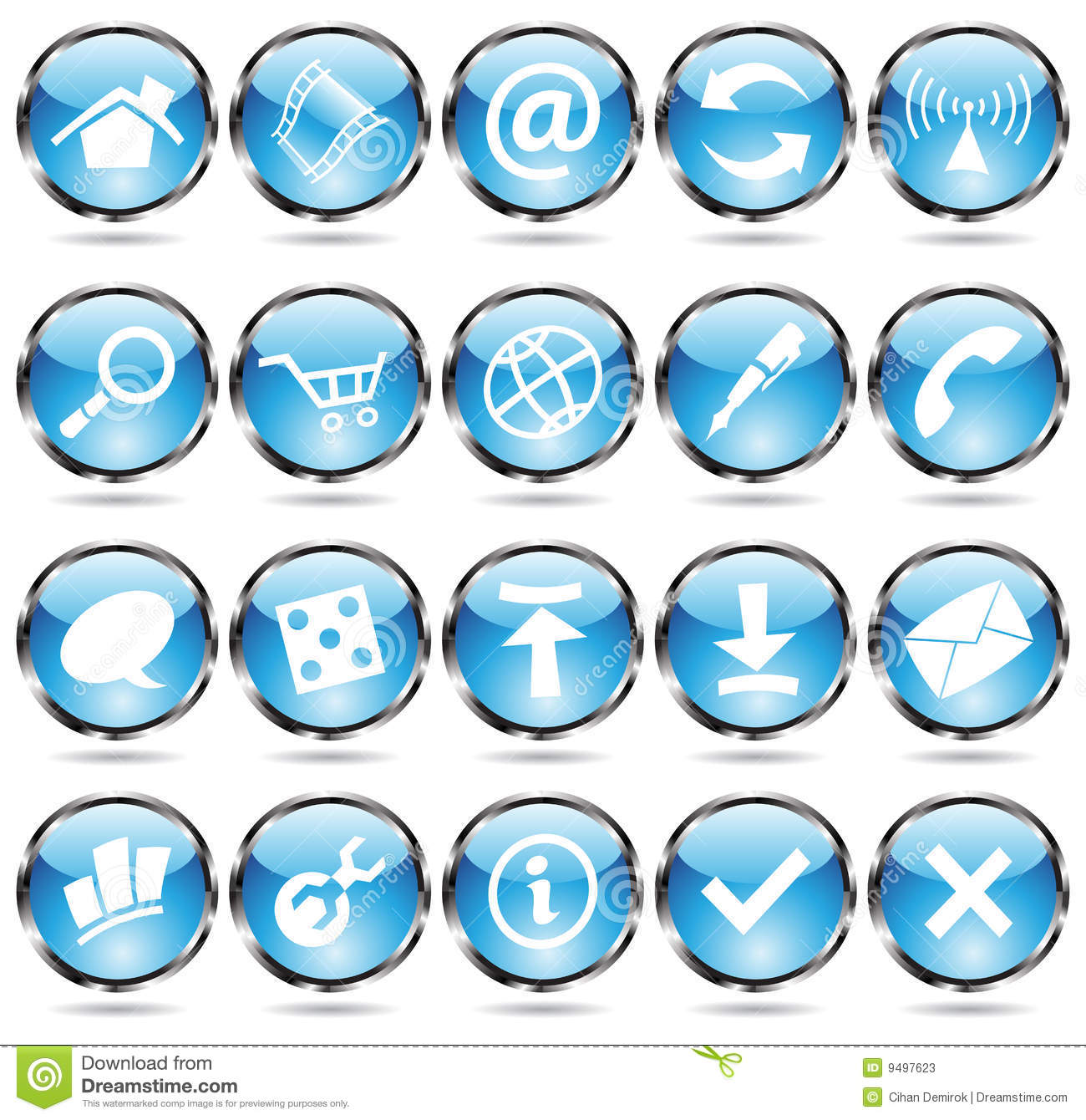 round blue icons stock photos
