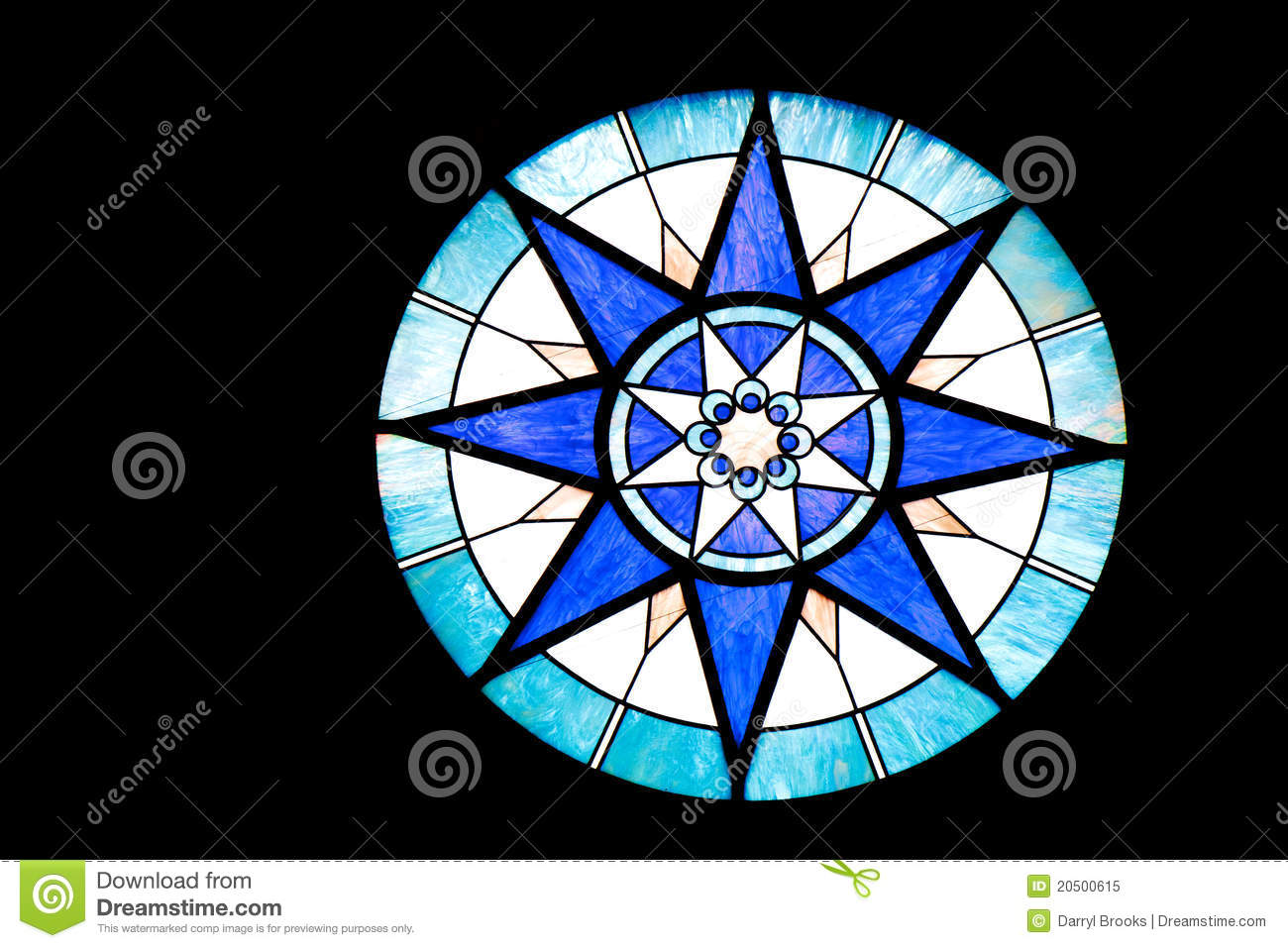 Round Blue And White Stained Glass Window Royalty Free