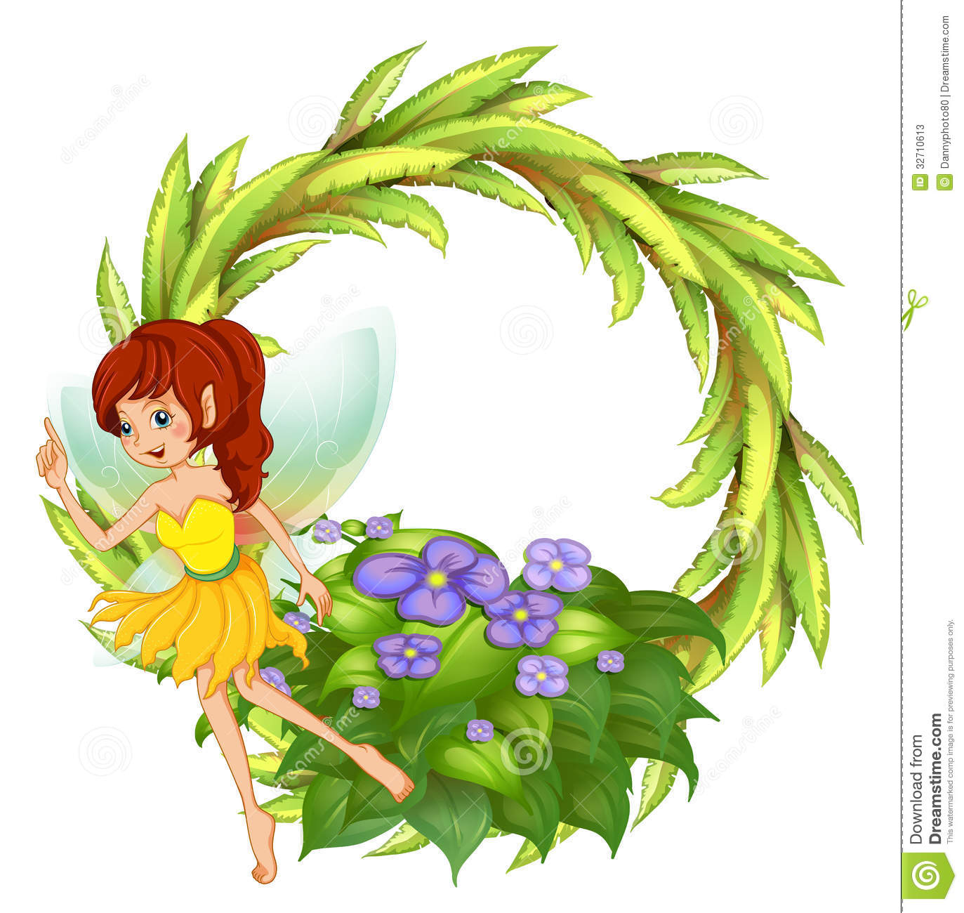 Illustration of a round border with a fairy in her yellow dress on a ...