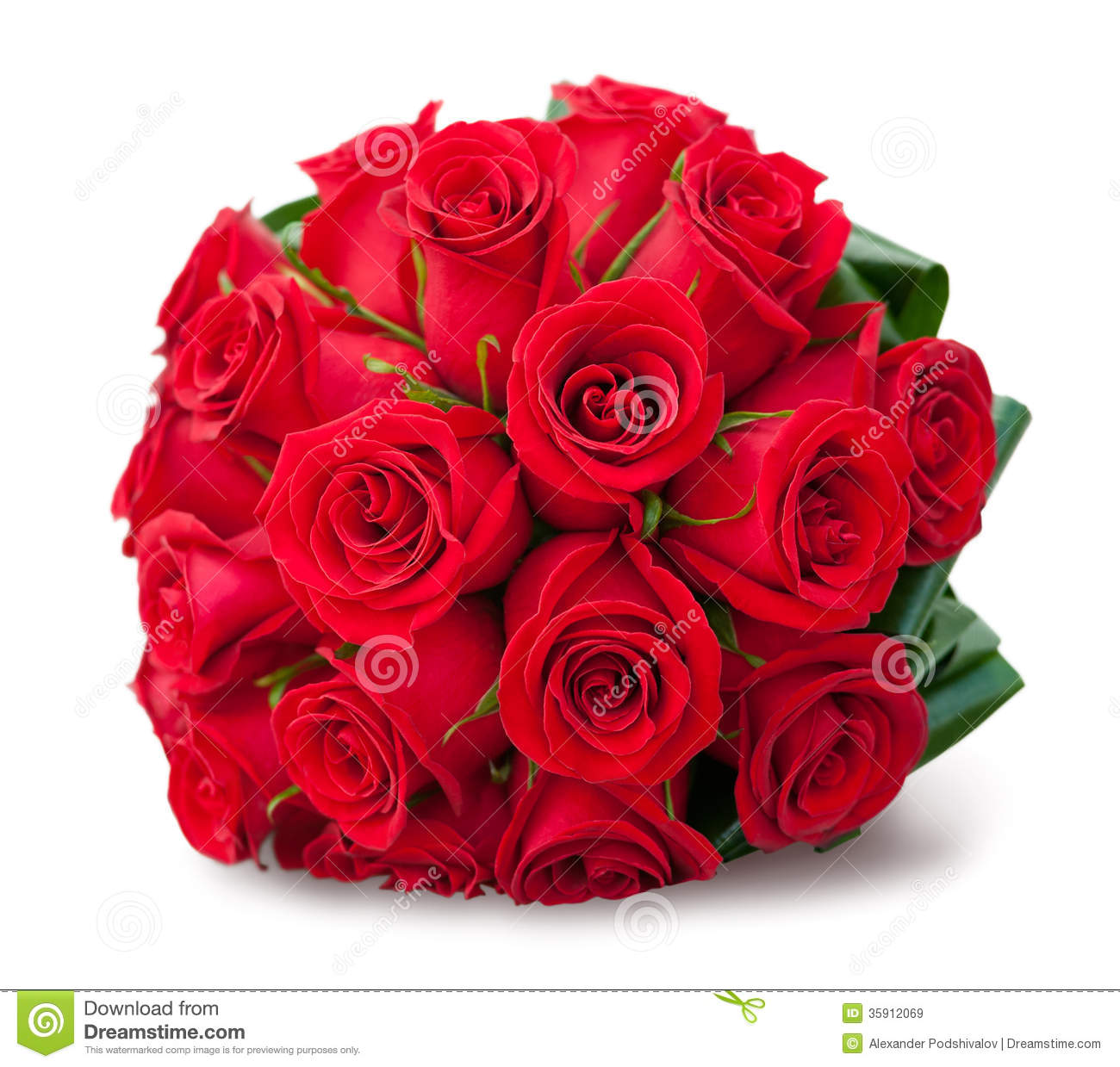 Round bouquet of red roses stock image. Image of selective ...
