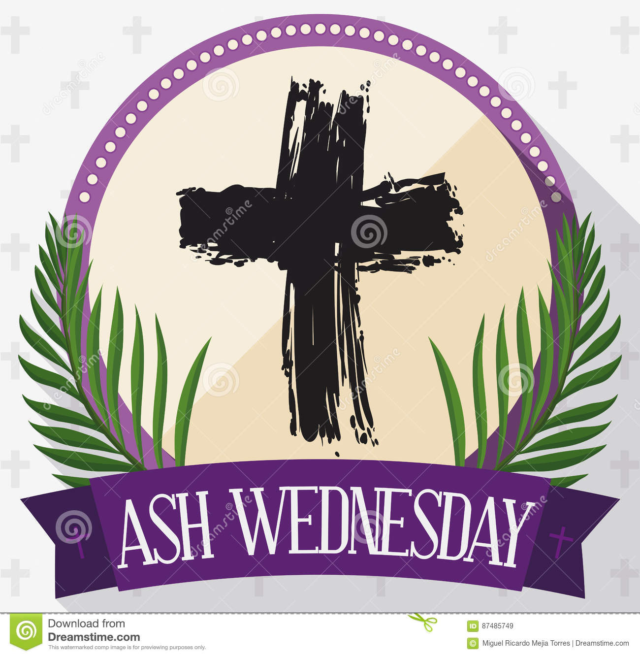 Round button for ash wednesday with cross palms and ribbon round button for ash wednesday with cross palms and ribbon vector illustration buycottarizona