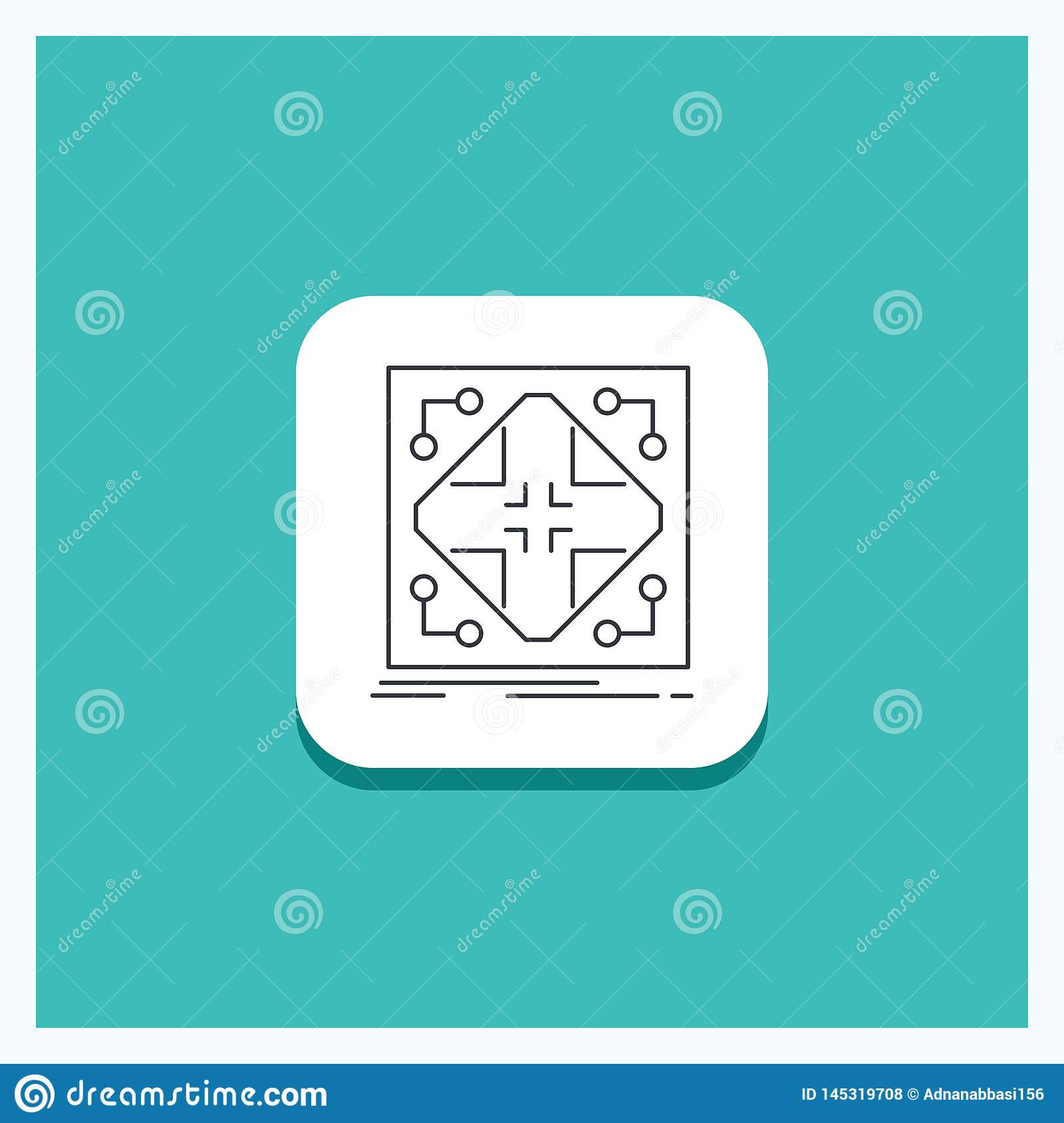round button for data, infrastructure, network, matrix, grid line icon  turquoise background